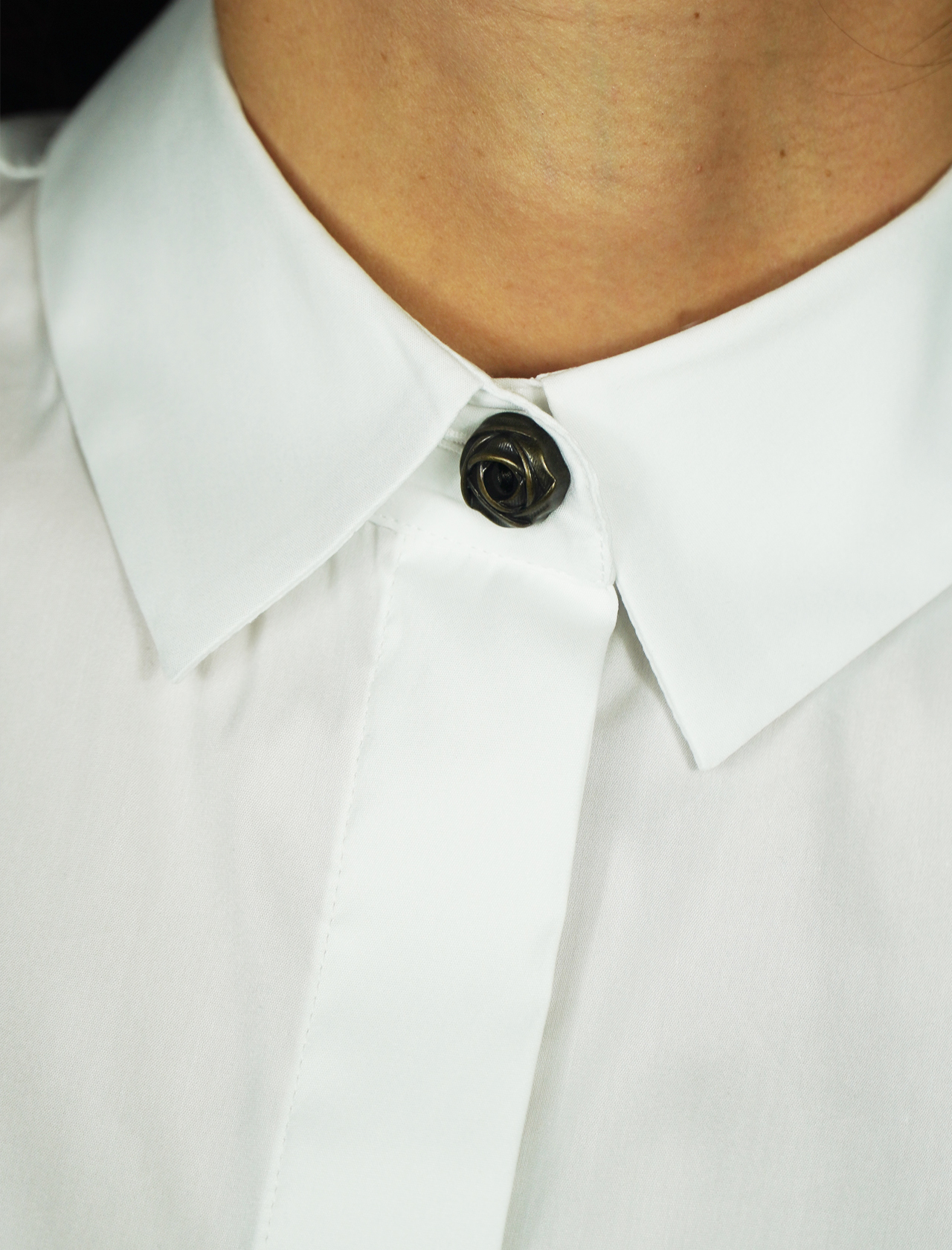 Women's Clothing Shirt in White Cotton Popeline Long sleeve with Jewel Button Maliparmi   Shirts and tops   JM44681010310000