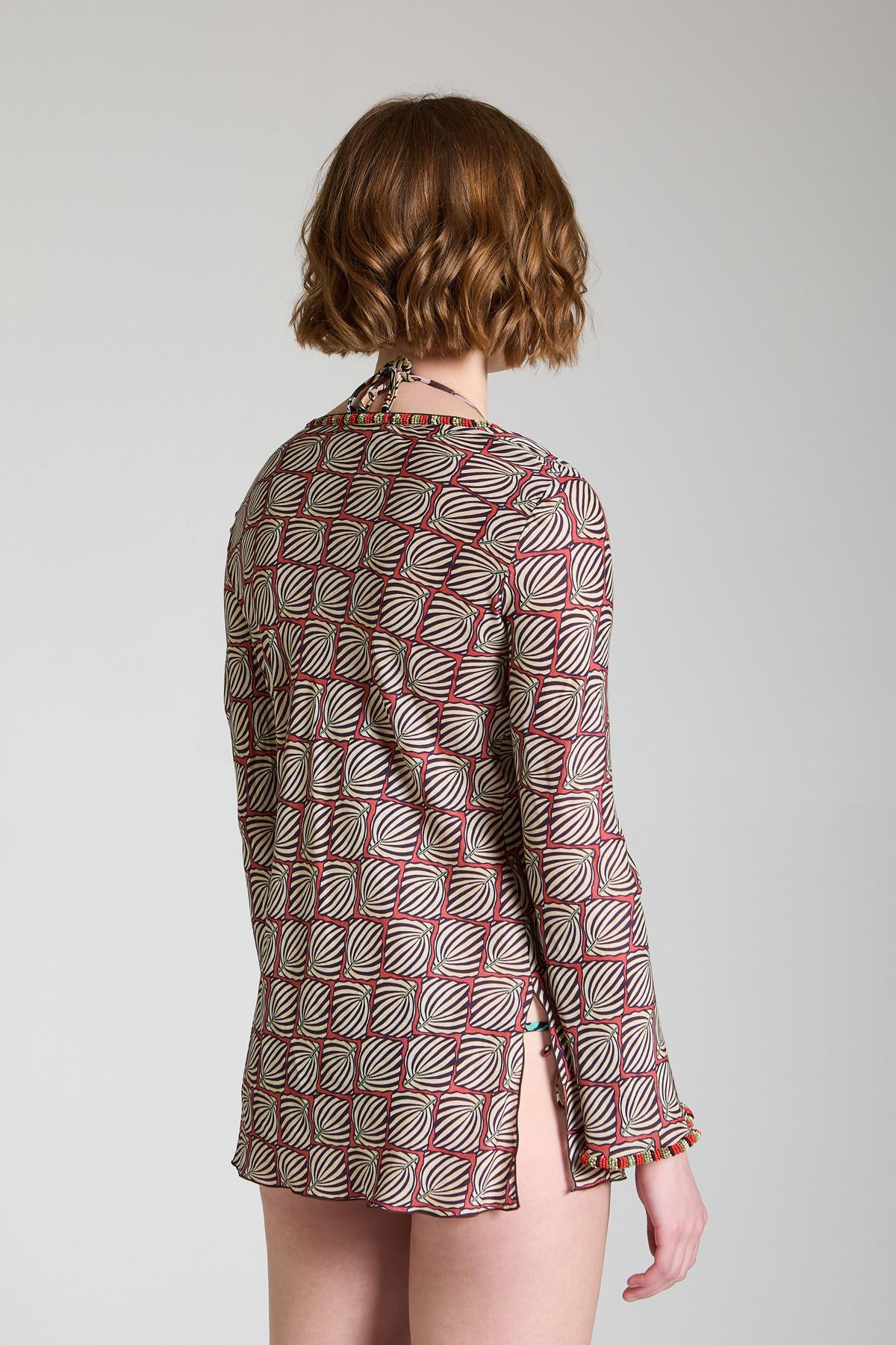 Abbigliamento Donna Maglia Camicia Geometric Palms con Scollo a V Crema a Fantasia Maliparmi | Camicie e Top | JM447750551B1226
