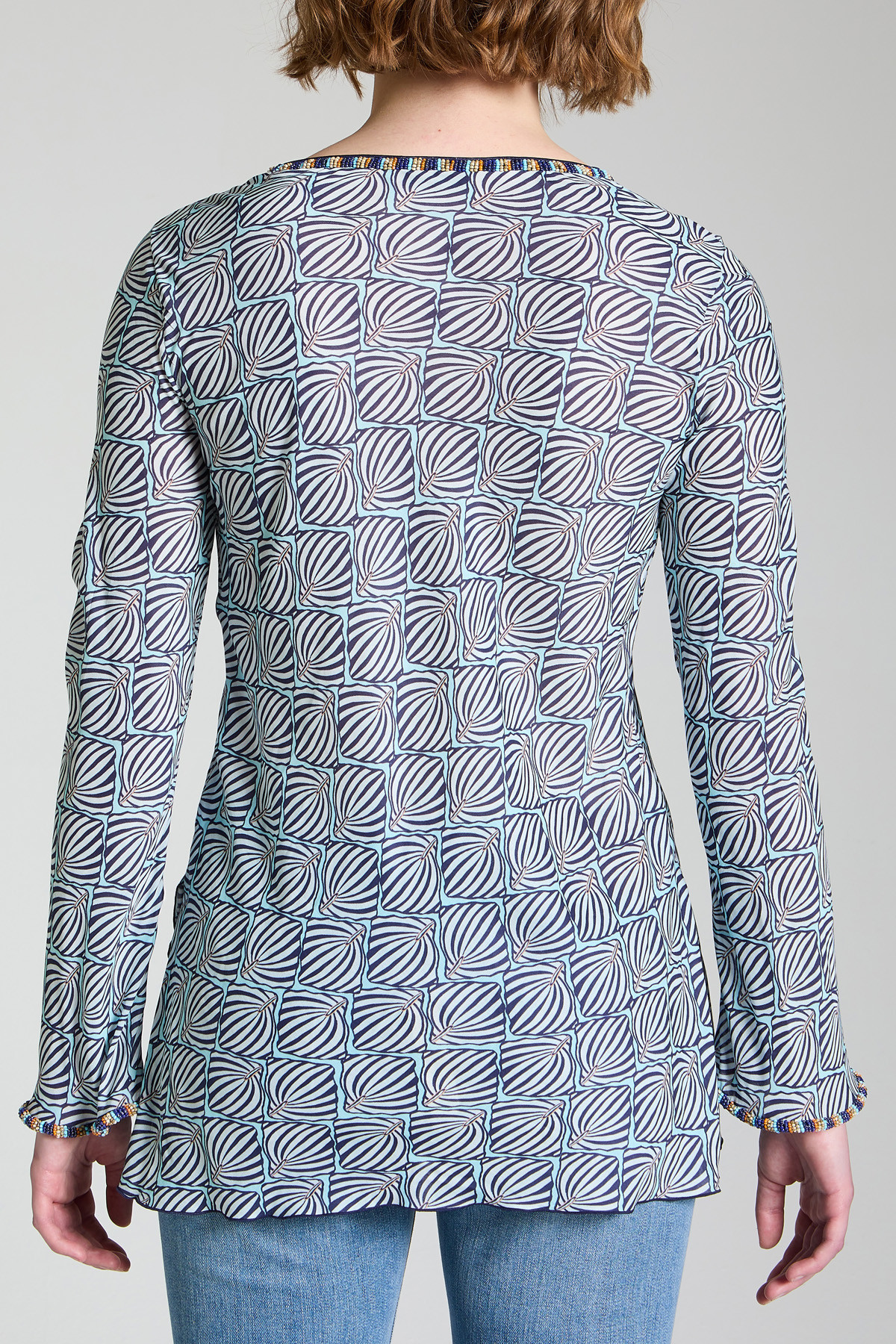 Women's Clothing Sweater Geometric Palms Shirt with Blue Patterned V-Neck Maliparmi | Shirts and tops | JM447750551C8047