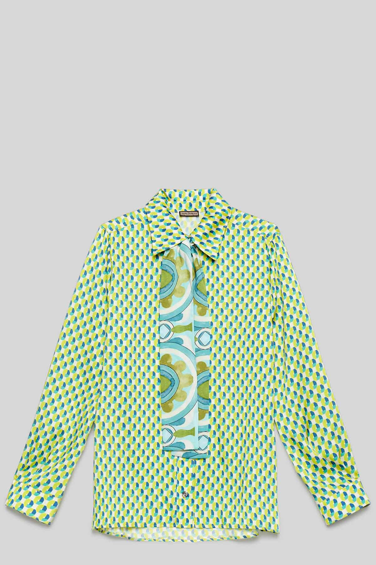 Women's Clothing Green and Turquoise Twill Patch Shirt with Tie Maliparmi | Shirts and tops | JM452660049A8207