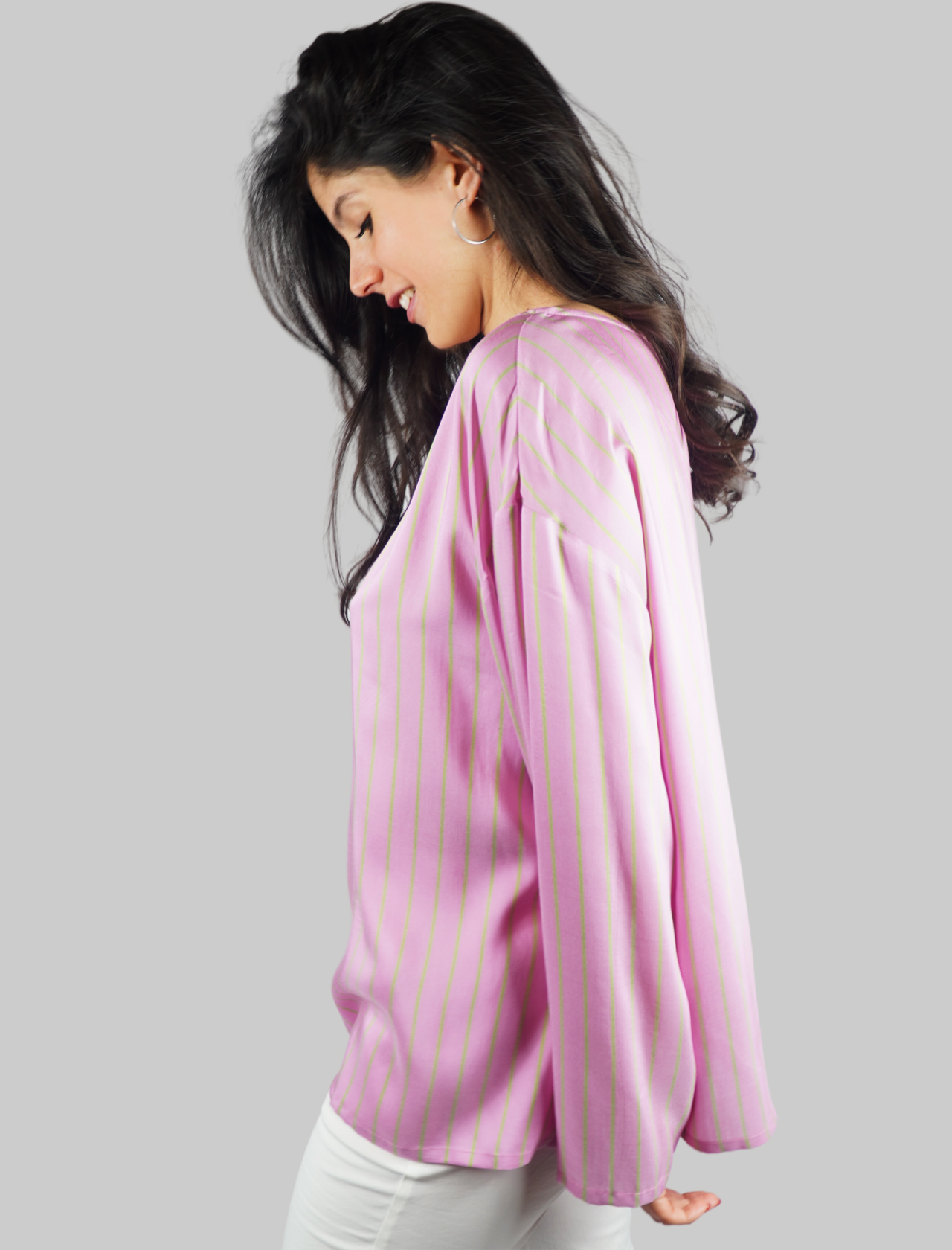Abbigliamento Donna Camicia T-shirt Manica Lunga in Pura Seta Stripes on Silk Rosa e Verde Maliparmi | T-shirt e Canotte | JM45275055632B60
