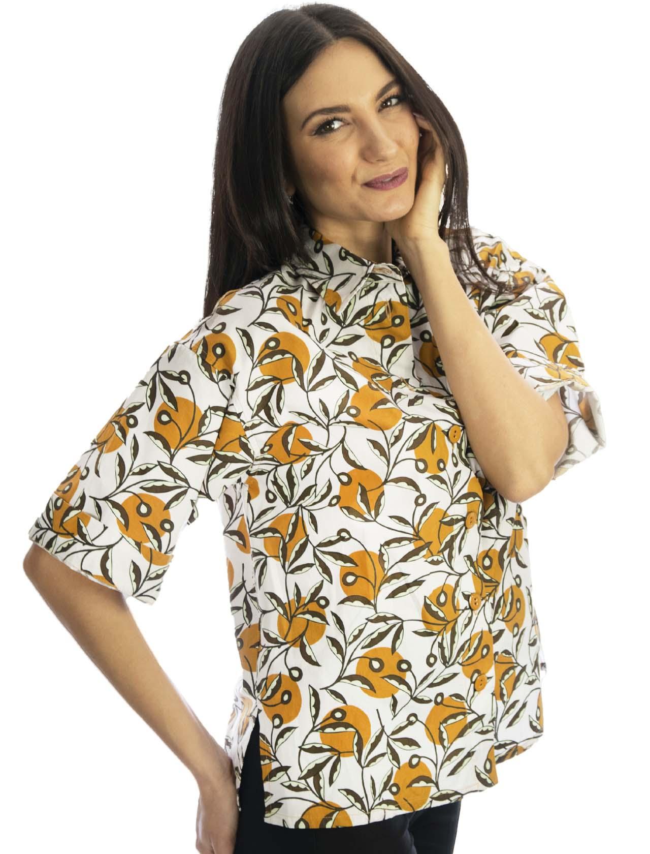 Abbigliamento Donna Camicia in Cotone Popeline Dotty Ramage Mezza Manica Naturale e Ocra Maliparmi | Camicie e Top | JM452810138B1105