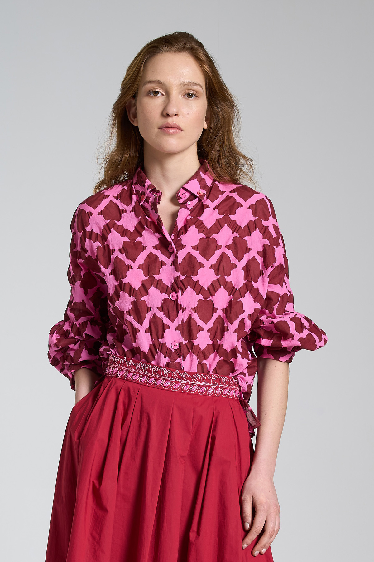 Women's Clothing Shirt Seersucker Ceres in Cotton Balloon Sleeve Pink and Red Maliparmi   Shirts and tops   JM453010139B3220