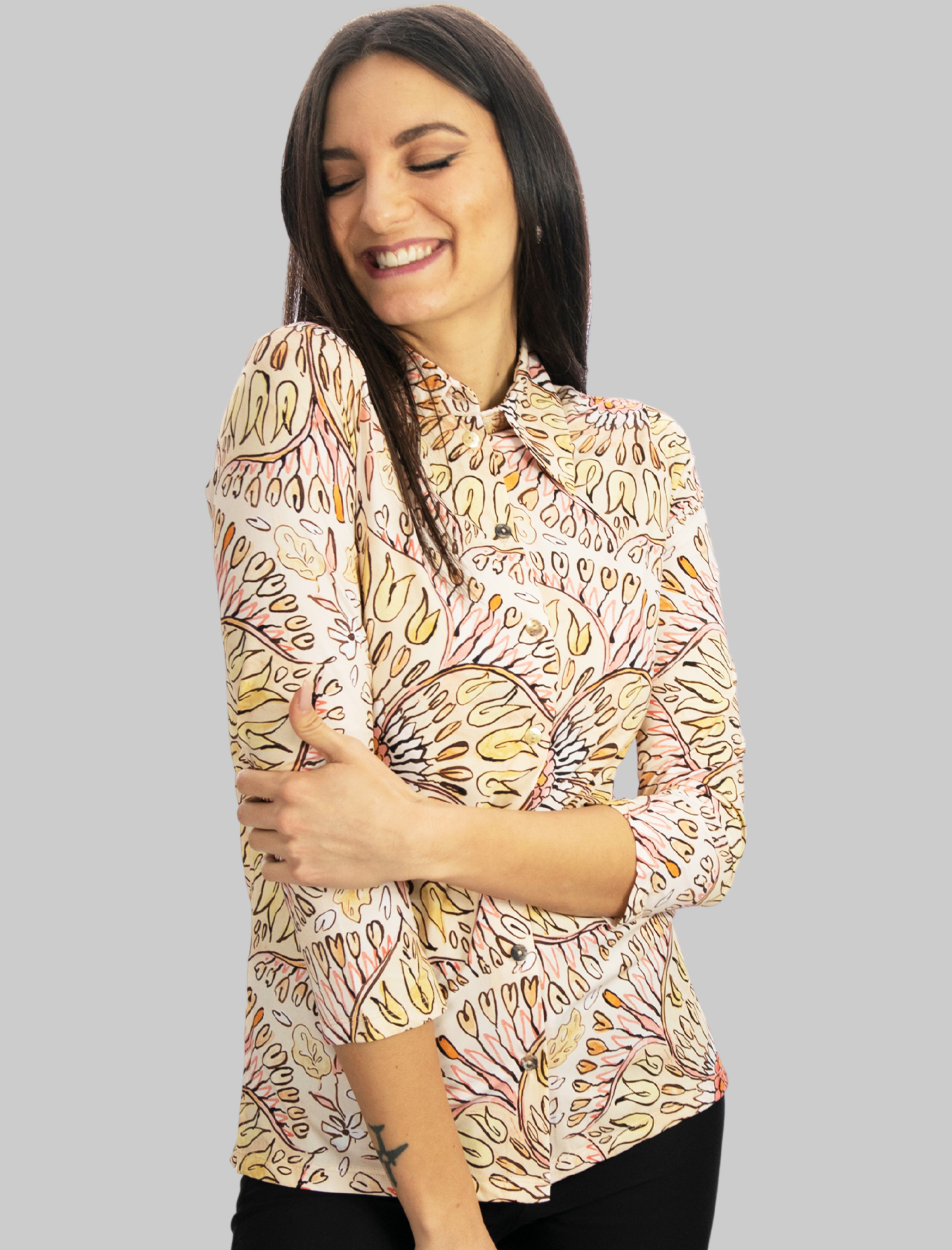 Women's Clothing Shirt Welcome Summer Jersey with Beige Pattern Maliparmi | Shirts and tops | JM542270407B1228