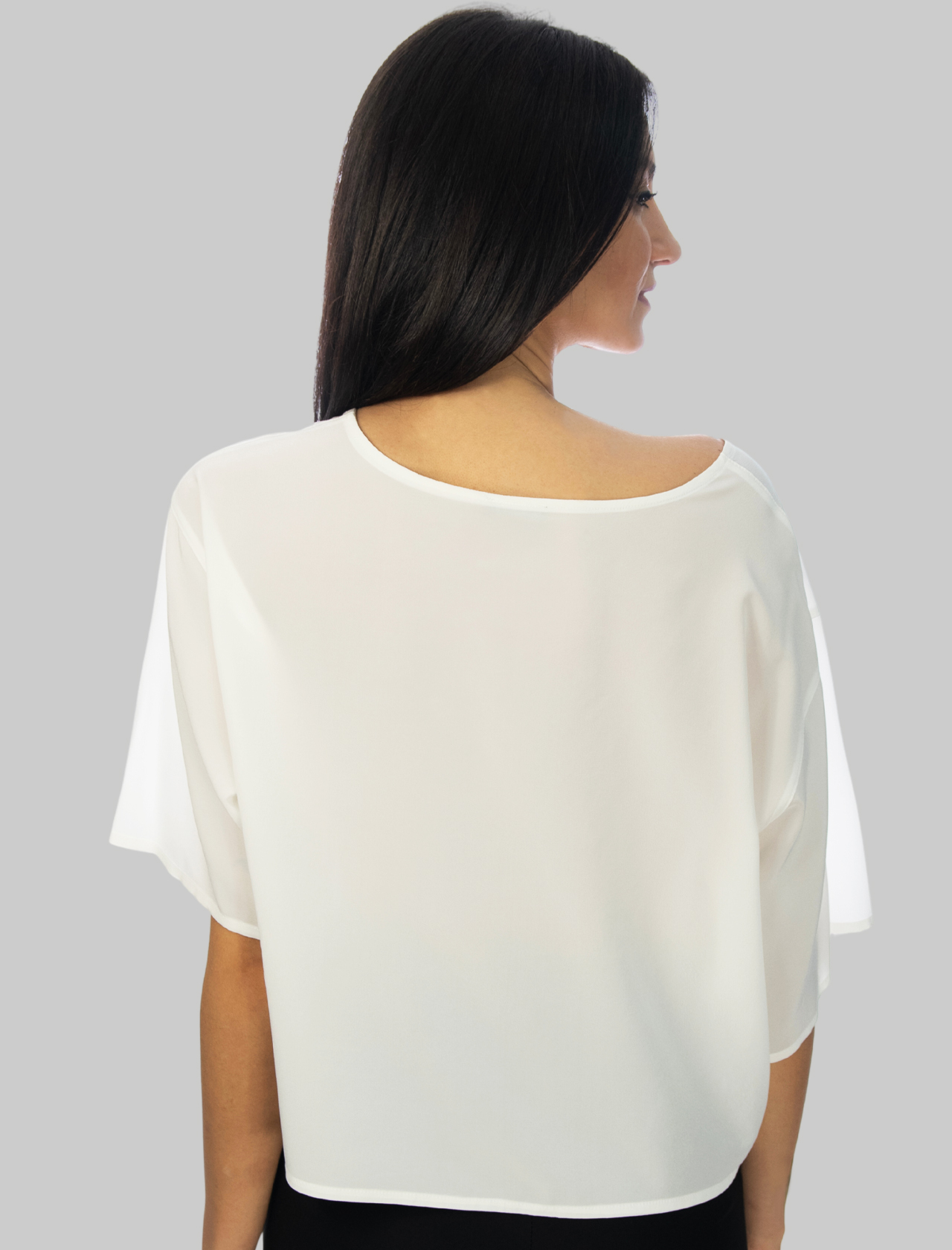 Women's Clothing Crepe de Chine Over Silk T-shirt in Natural Maliparmi | Shirts and tops | JM54243004410001
