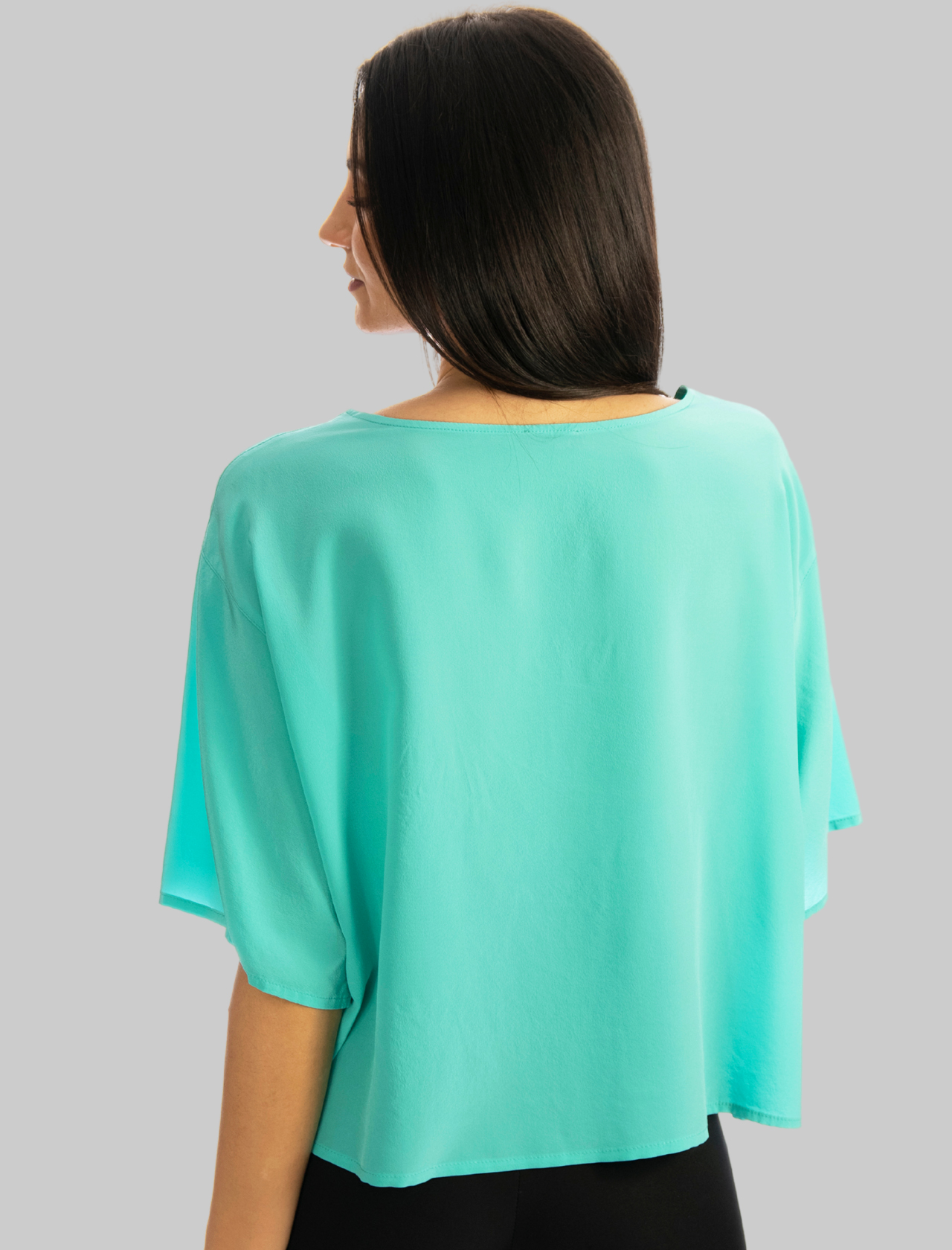 Abbigliamento Donna T-shit in Seta Crepe de Chine Over in Turchese Maliparmi | Camicie e Top | JM54243004482012