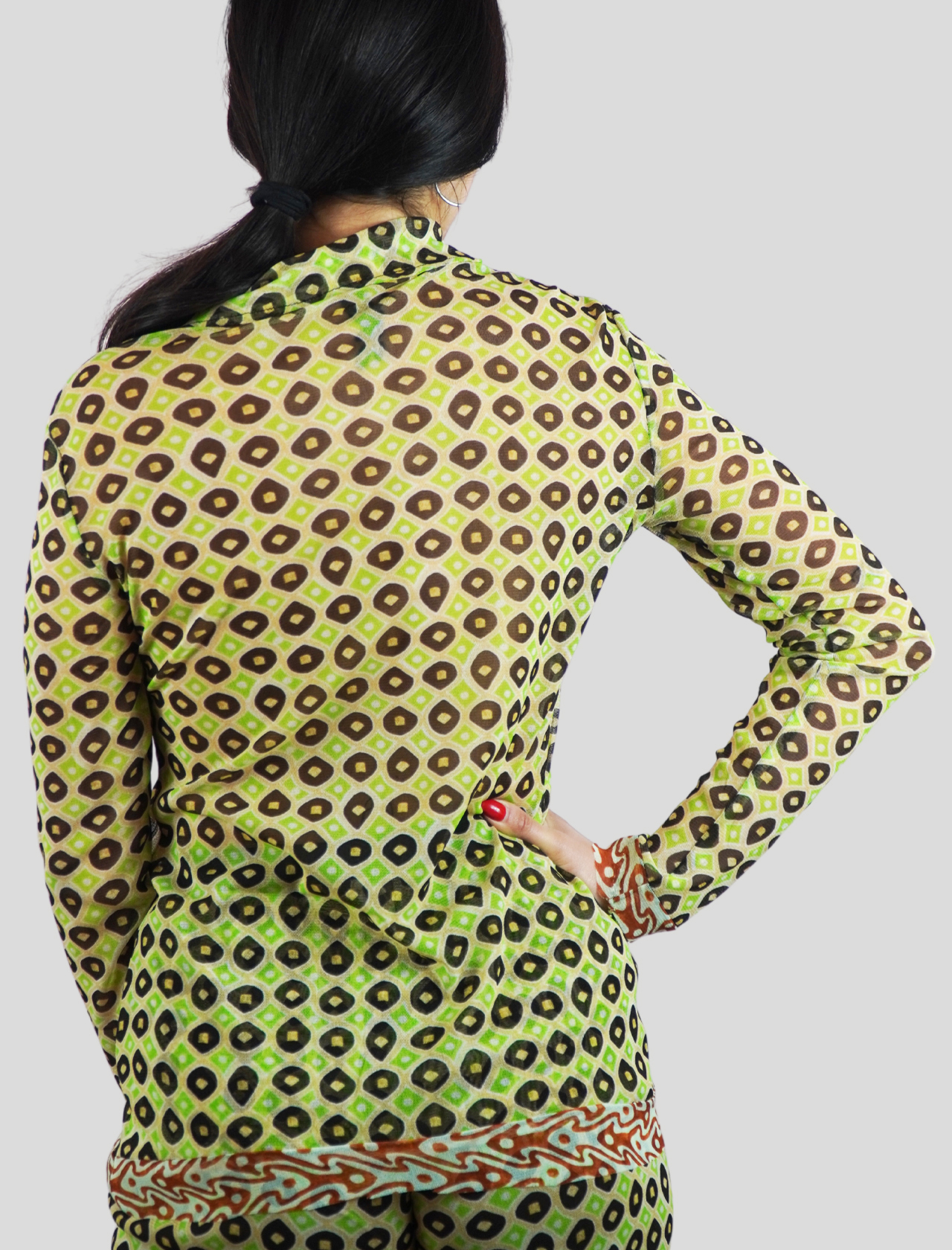 Women's Clothing Tribal Dance Shirt in Green and Gold Patterned Tulle with Long Sleeves Maliparmi | Shirts and tops | JM542670494C6020
