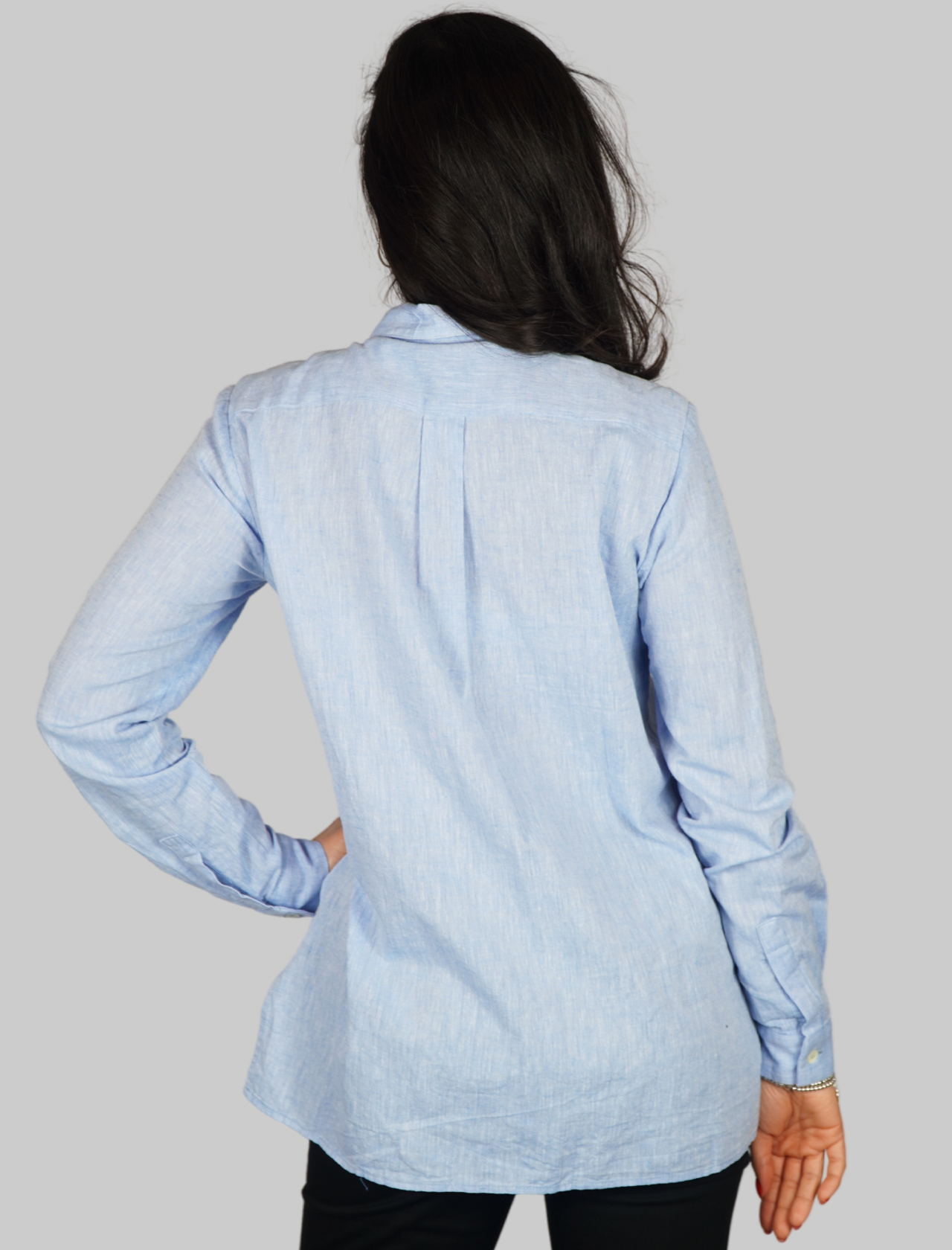 Women's Clothing Natural Fibers Shirt in Light Blue with Printed Twill Pocket Maliparmi | Shirts and tops | JM54284007681004