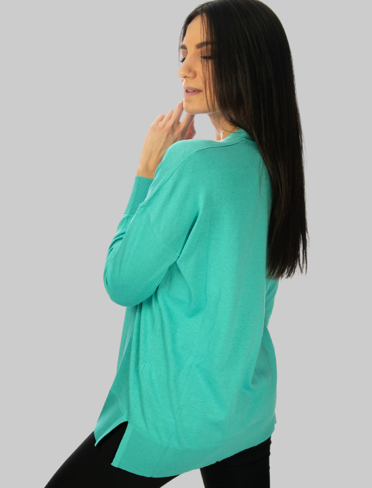 Women's Clothing Colors of the World Cardigan in Silk and Cotton with Turquoise V-Neck Maliparmi | Knitwear | JN34807807482012