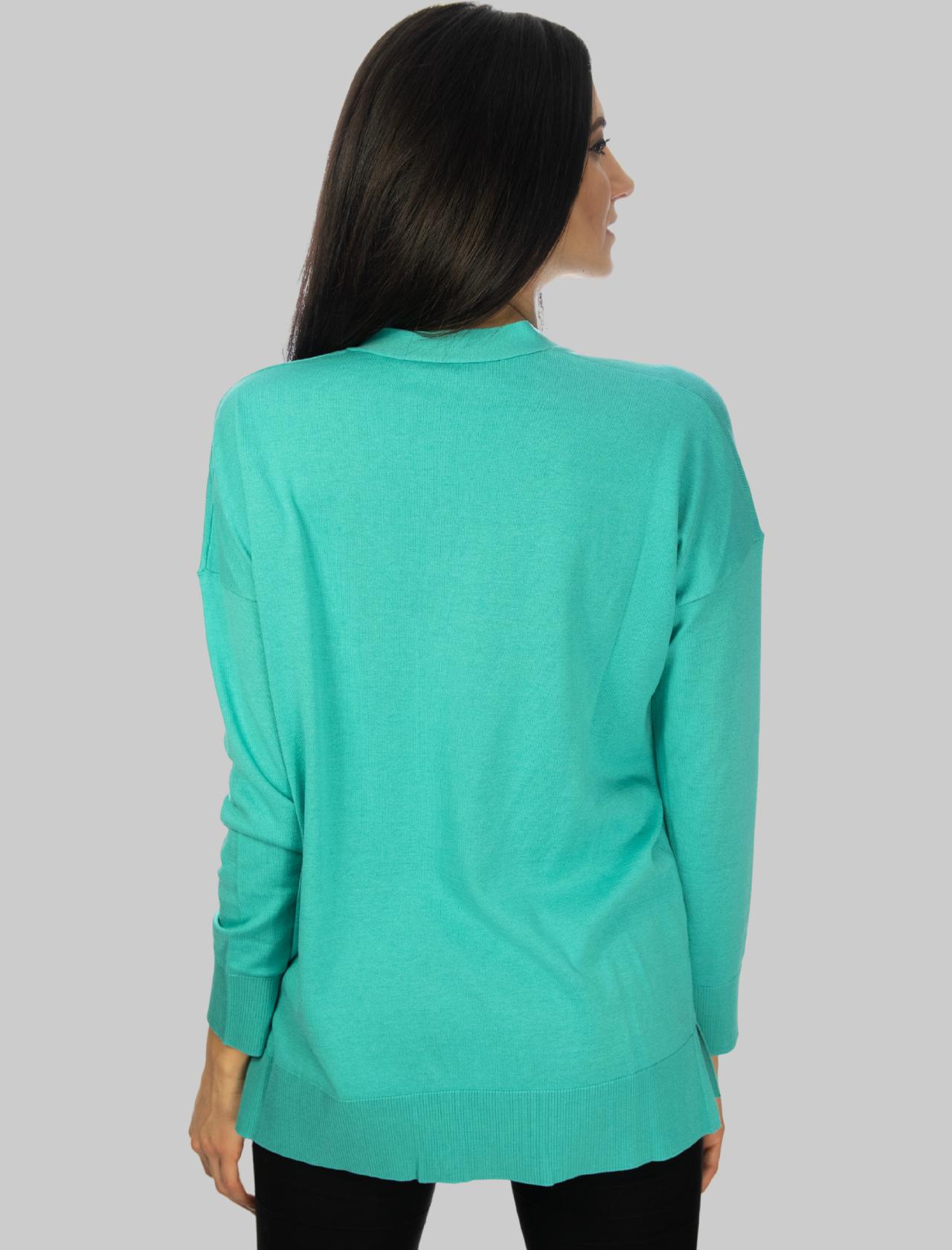 Abbigliamento Donna Cardigan Colours of the World in Seta e Cotone con Scollo a V Turchese Maliparmi | Maglieria | JN34807807482012