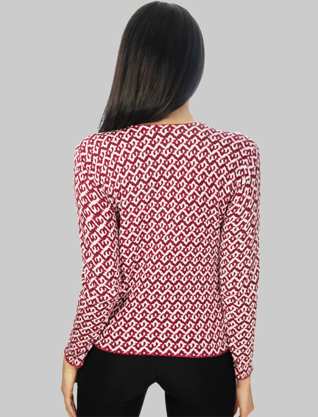 Abbigliamento Donna Cardigan Corto Drop Cotton in Cotone Rosso e Bianco Maliparmi | Maglieria | JN356670501A3091