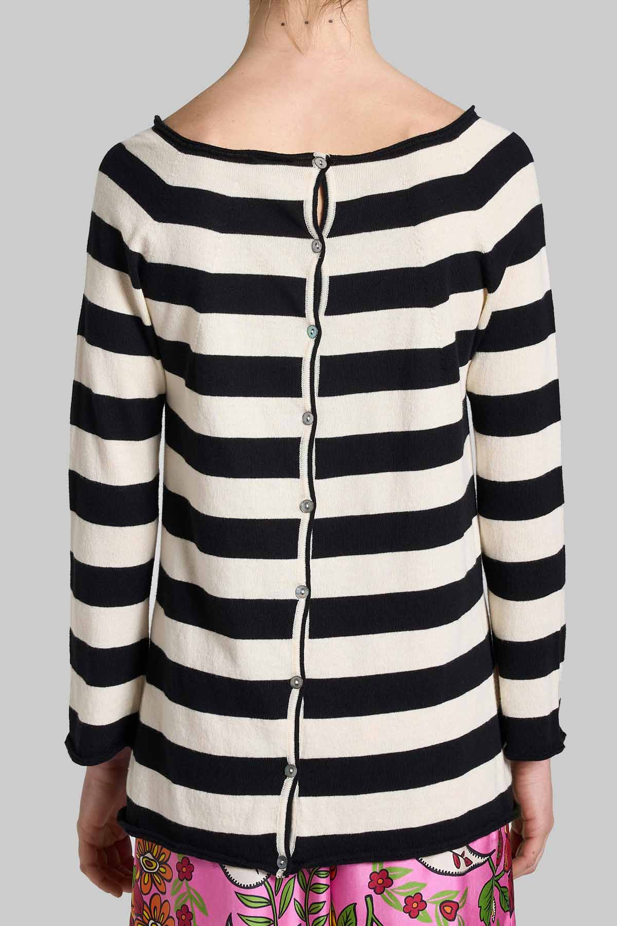 Women's Clothing Sweater Cardigan Bio Cotton with Black and White Stripes Maliparmi | Knitwear | JN35707050020B10