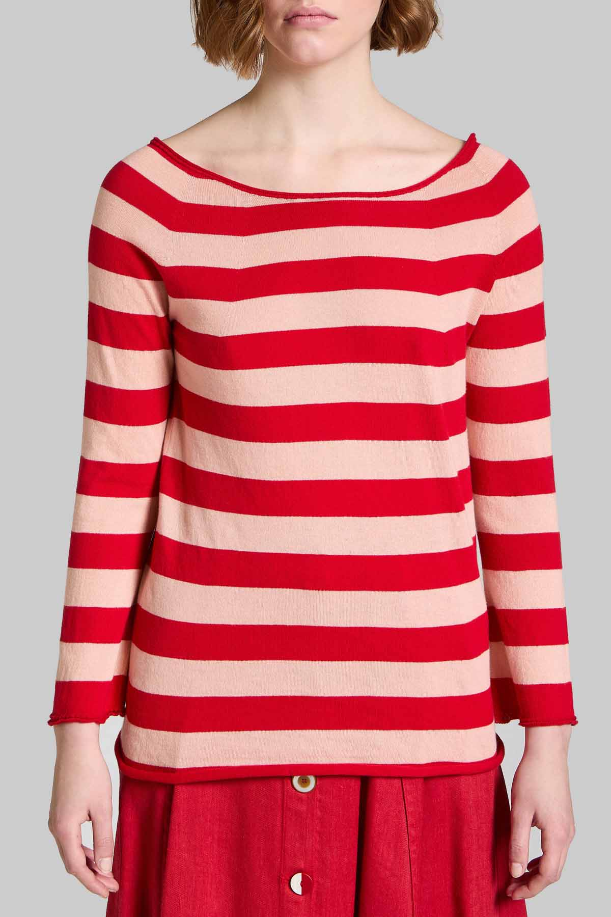 Women's Clothing Sweater Cardigan Bio Cotton with Red and Fuxia Stripes Maliparmi | Knitwear | JN35707050032B30