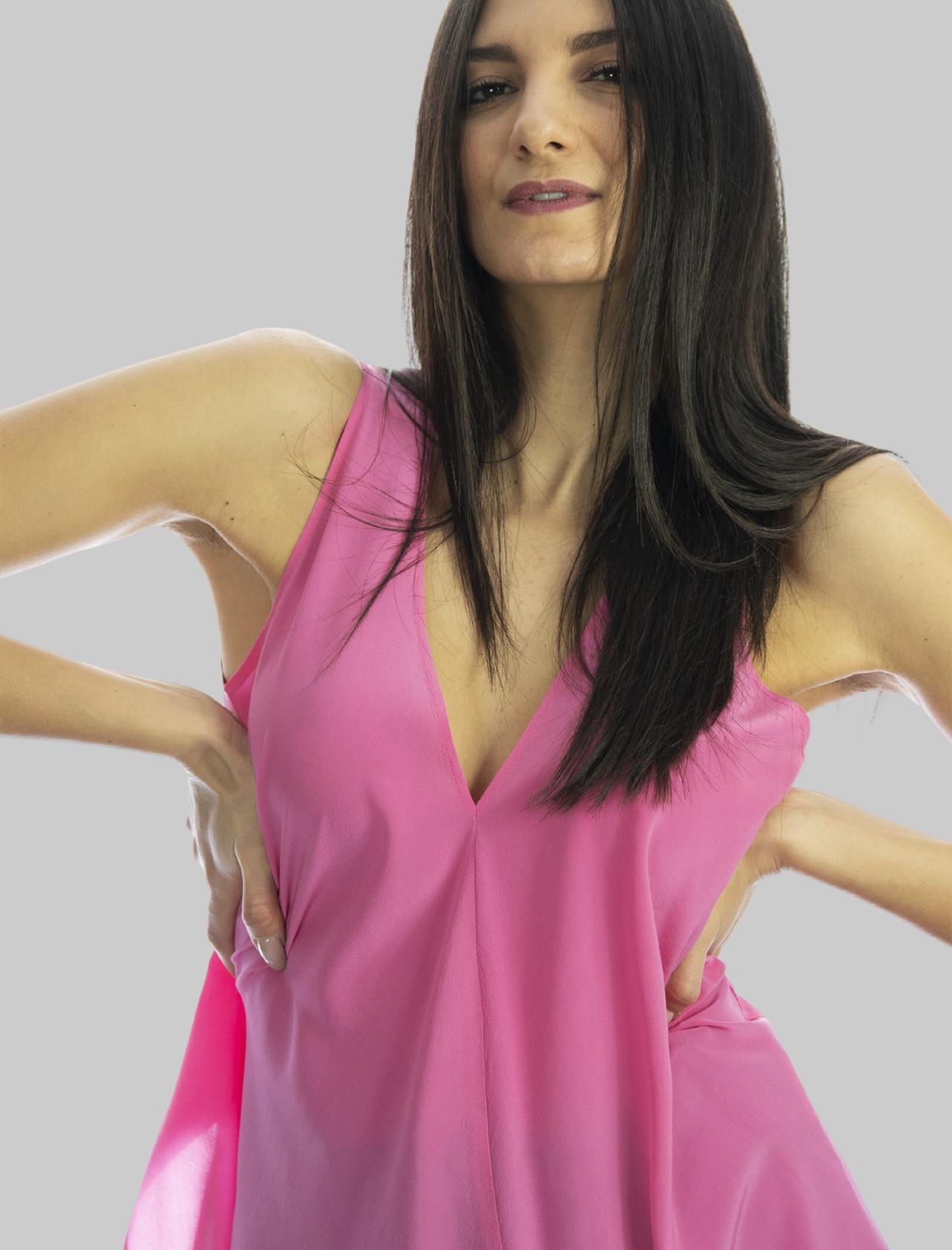 Abbigliamento Donna Top in Seta Rosa Crepe de Chine con Scollo a Punta Maliparmi | Camicie e Top | JP53183004432000
