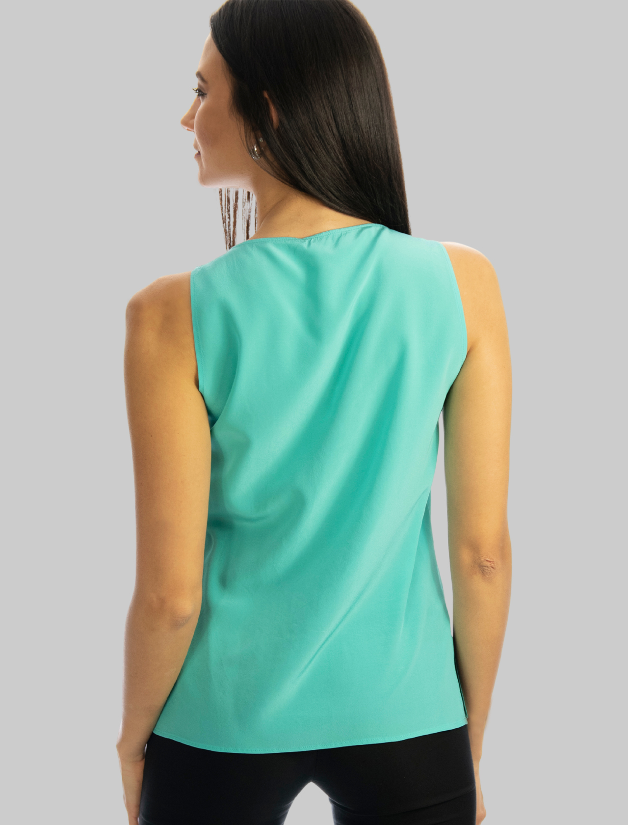Women's Clothing Turquoise Crepe de Chine Silk Top with V-Neck Maliparmi | Shirts and tops | JP53183004482012