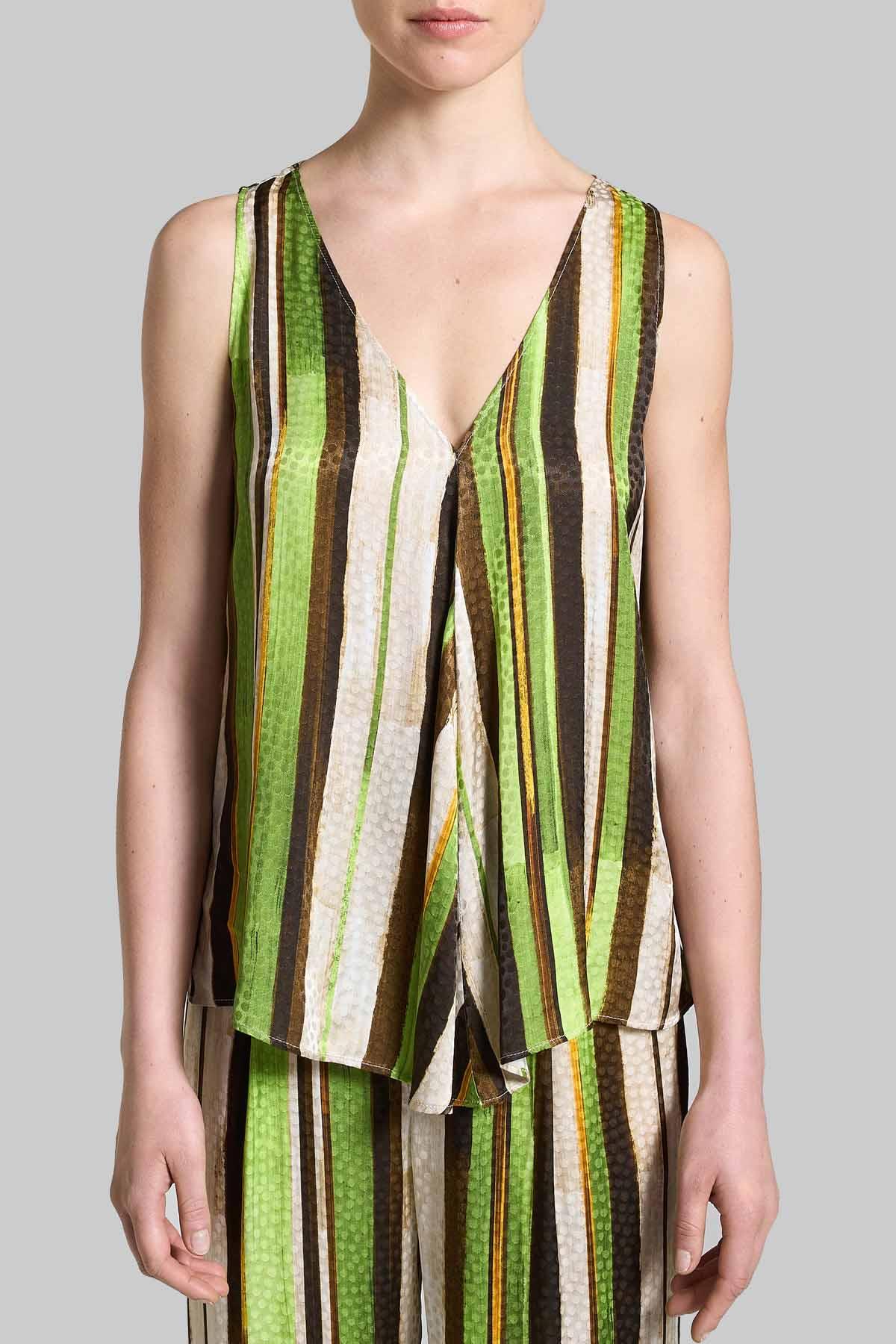 Abbigliamento Donna Top Stripes Jacquard In Verde e Naturale con Scollo a V Maliparmi | Camicie e Top | JP531850557C6022