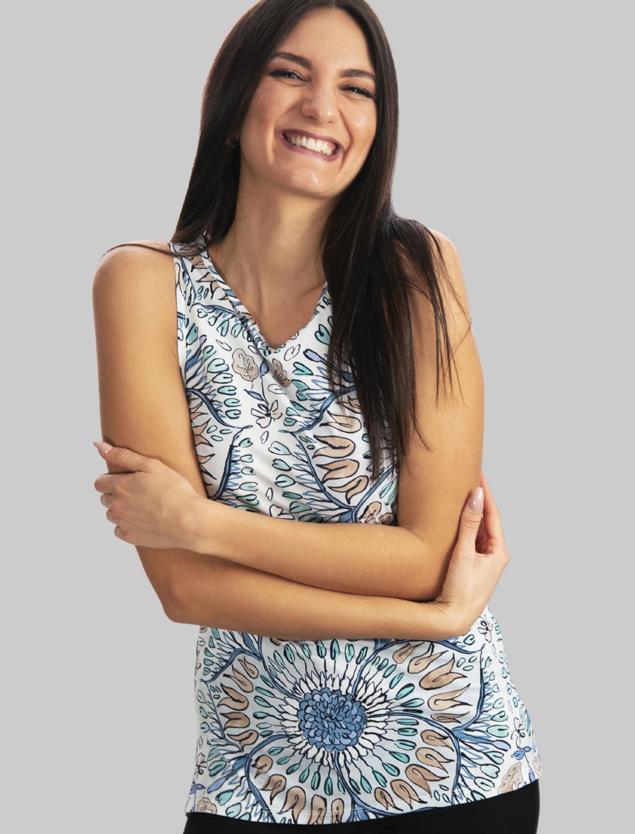 Abbigliamento Donna Top-welcome in Jersey Giromanica a Fantasia Azzurro Maliparmi   Camicie e Top   JP534870407A1846