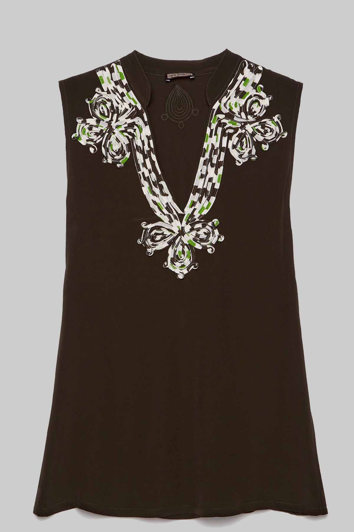 Women's Clothing Top Embroidered in Brown Viscose with Deep Neckline and Embroidered Maliparmi | Shirts and tops | JP53925055440007