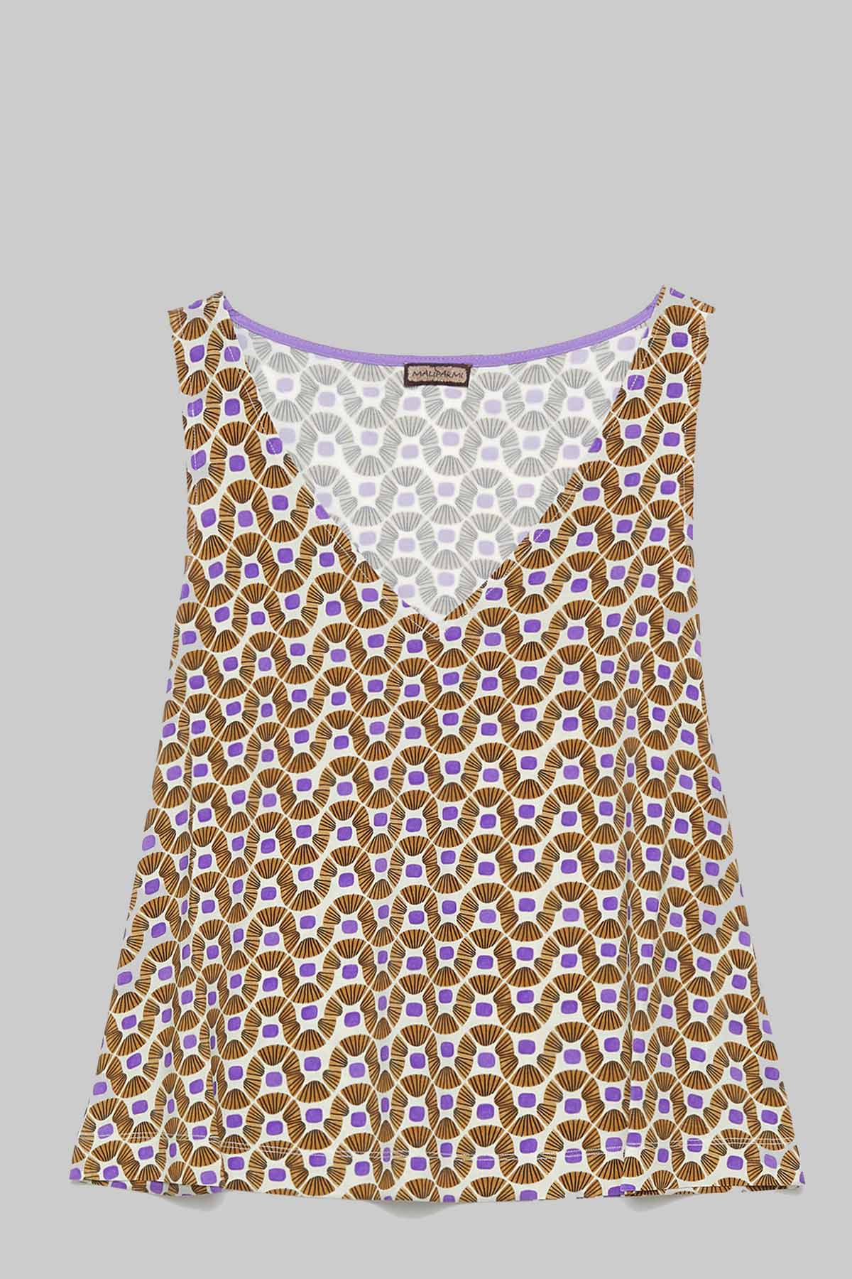 Women's Clothing Top Jersey Happy Frame in Natural and Beige Pattern Maliparmi | Shirts and tops | JP539470493B1104