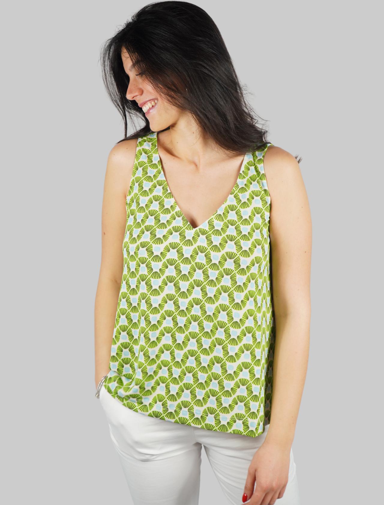 Abbigliamento Donna Top Jersey Happy Frame a Fantasia Verde e Turchese Maliparmi | Camicie e Top | JP539470493C6015