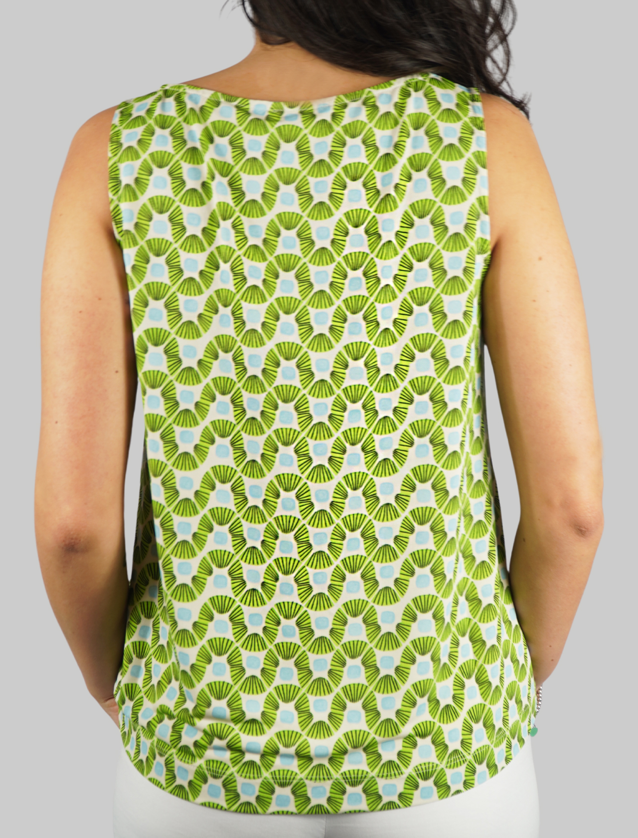 Women's Clothing Top Jersey Happy Frame in Green and Turquoise Pattern Maliparmi | Shirts and tops | JP539470493C6015