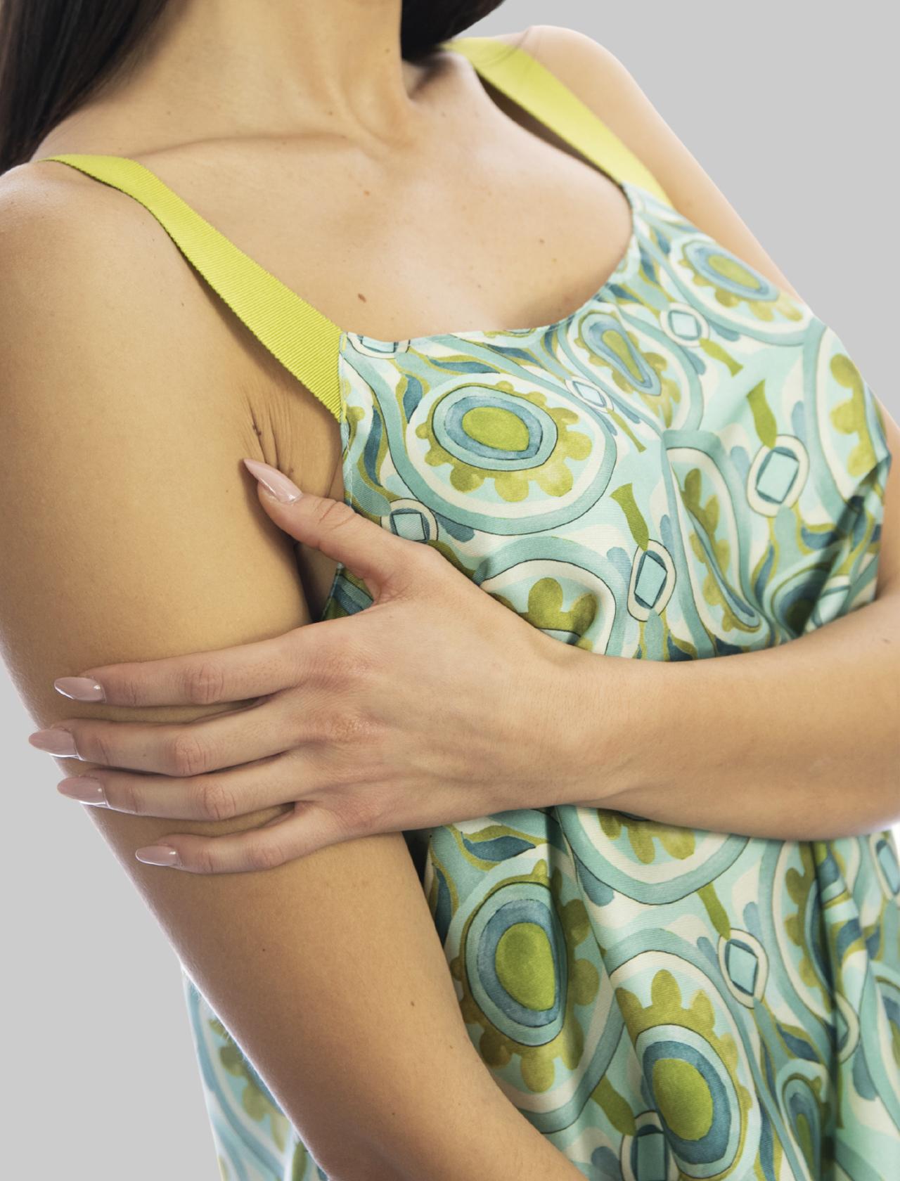 Abbigliamento Donna Top Ottoman Twill Turchese con Bretelle in Gros Grain Mono Colore Maliparmi | Camicie e Top | JP539860046A8207