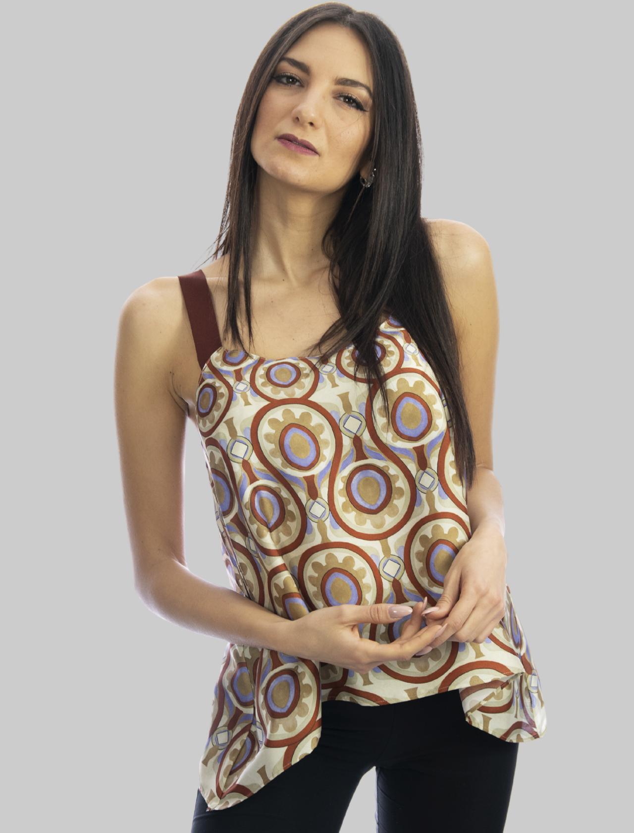 Abbigliamento Donna Top Ottoman Twill Beige con Bretelle in Gros Grain Mono Colore Maliparmi   Camicie e Top   JP539860046B1229