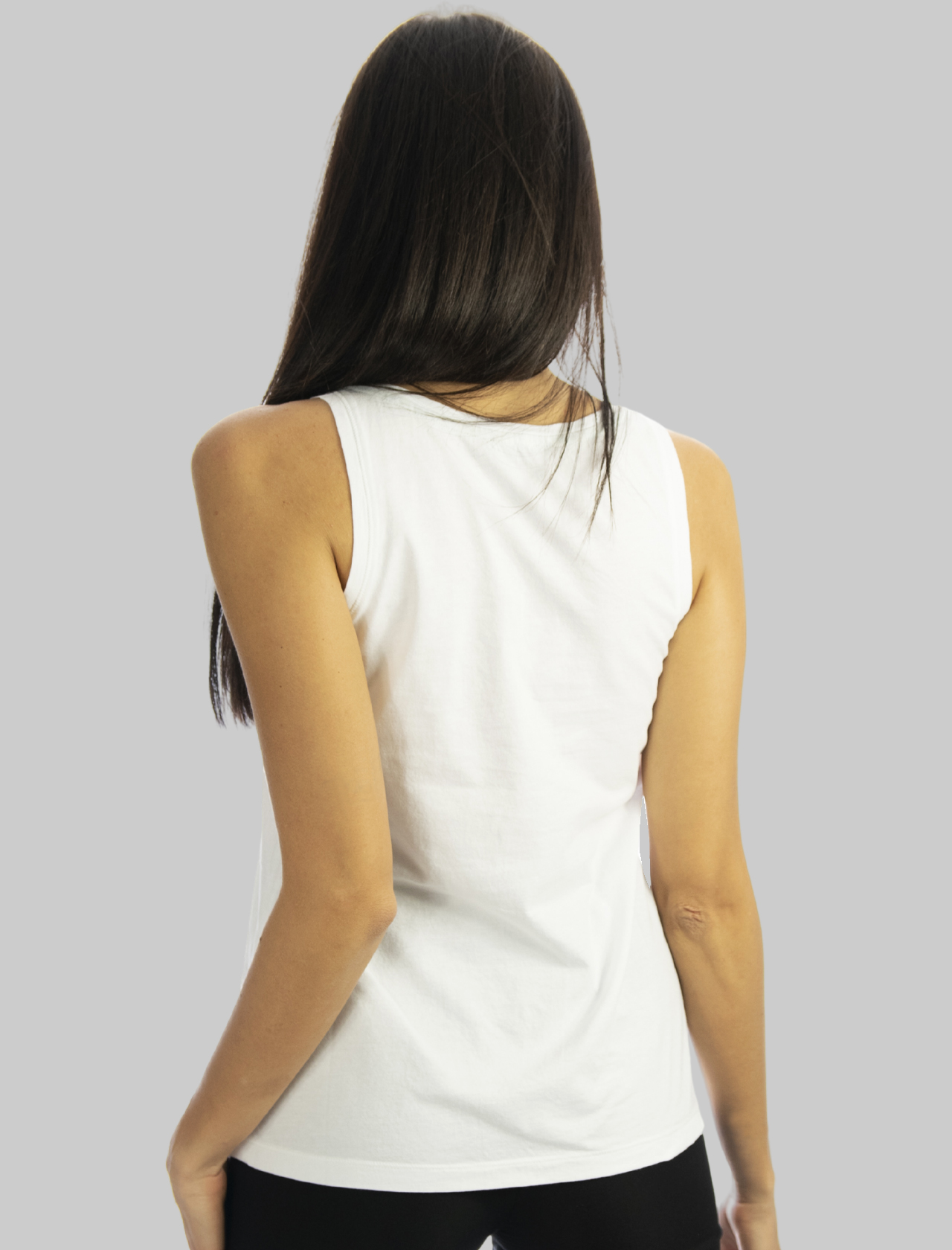 Women's Clothing White Cotton Patch Tank Top with Fantasy Twill Pocket Maliparmi |  | JP54027049510000