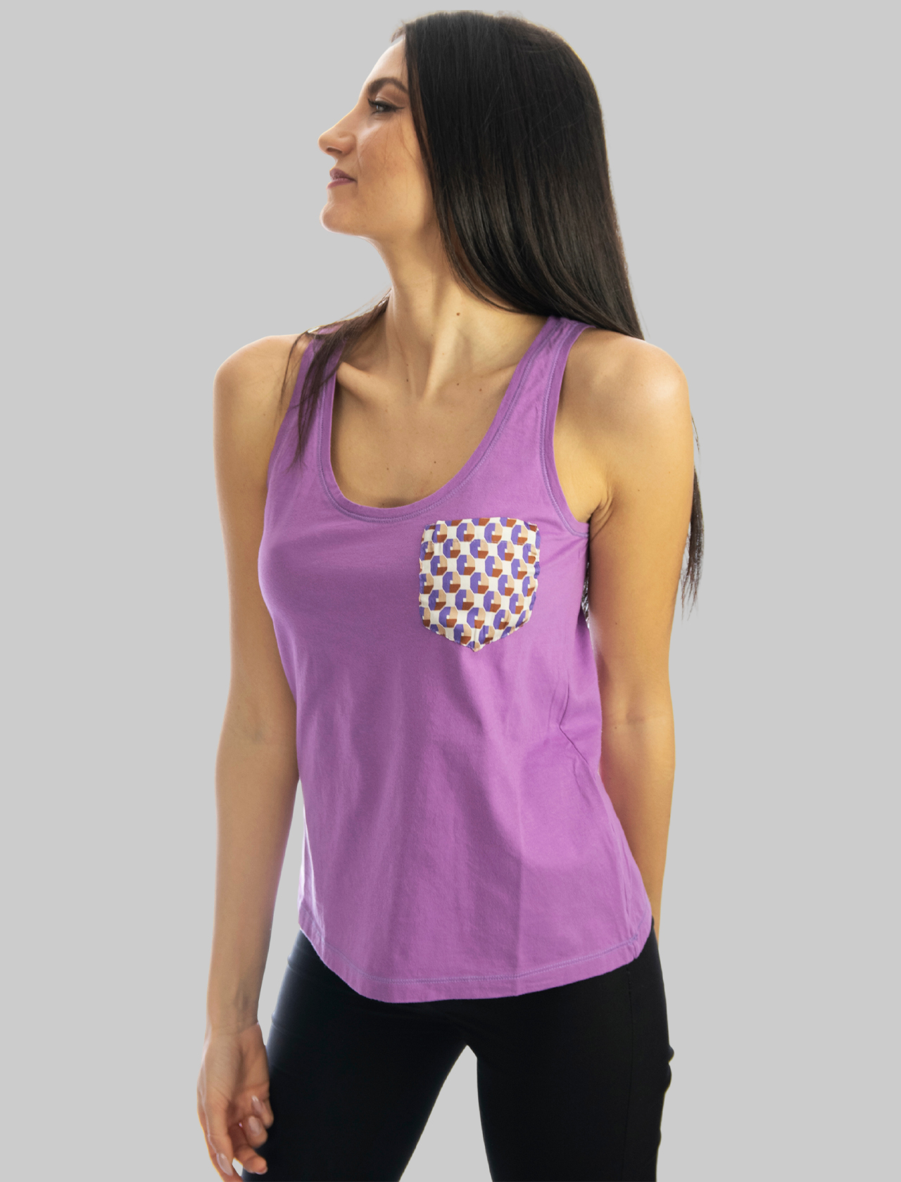 Women's Clothing Wisteria Cotton Patch Tank Top with Patterned Twill Pocket Maliparmi |  | JP54027049551036