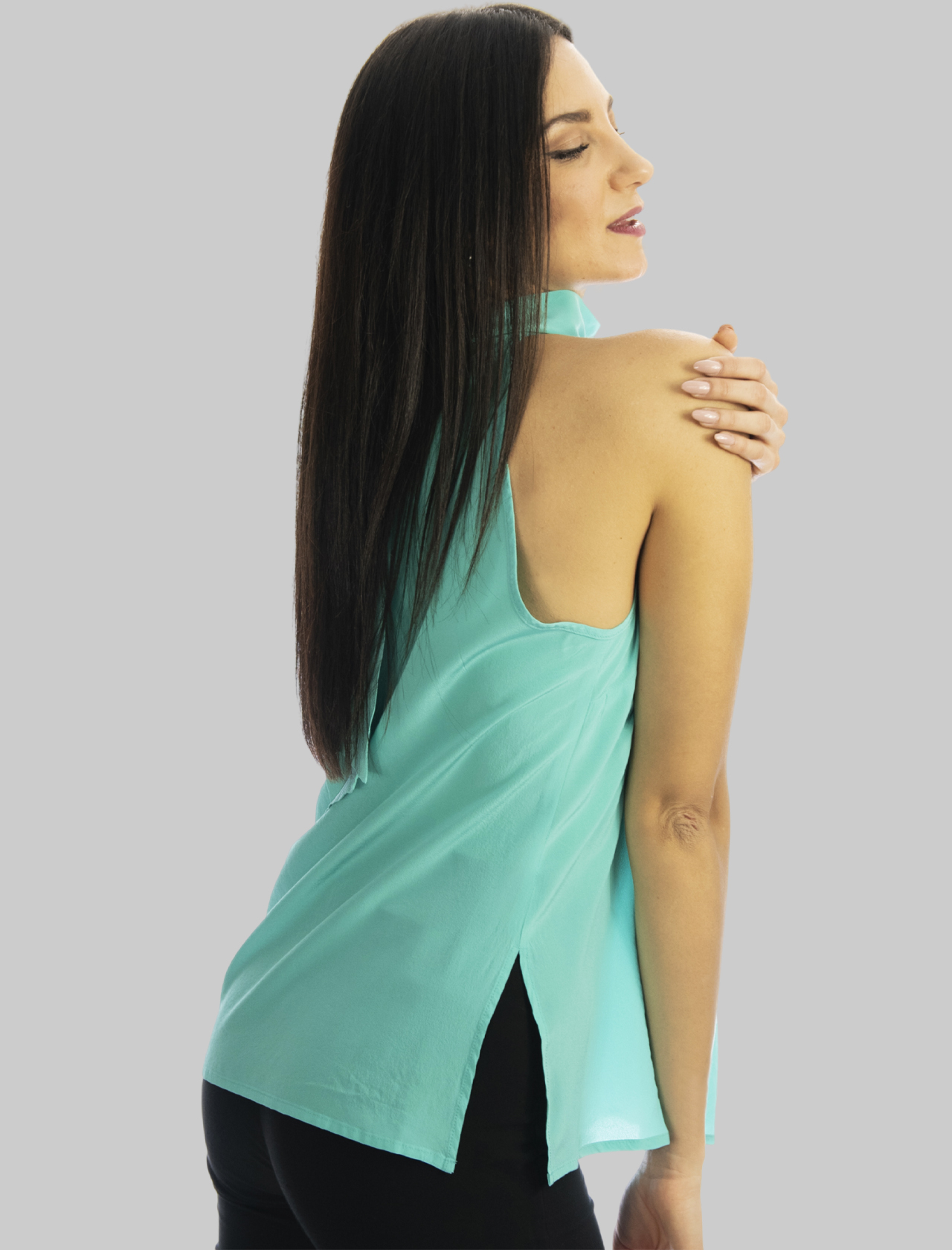 Women's Clothing Turquoise Crepe de Chine Silk Top with Back Bow Maliparmi | Shirts and tops | JP54043004482012