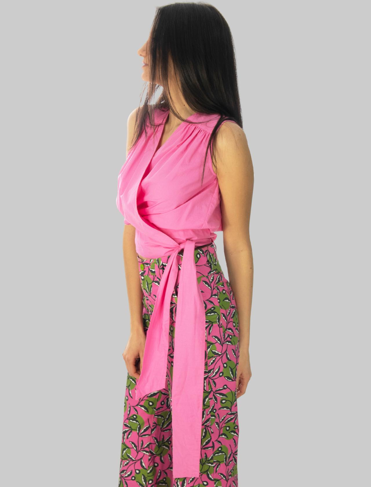 Abbigliamento Donna Top Soft Popeline in Rosa con Incrocio sul Seno e Fiocco Laterale Maliparmi | Camicie e Top | JP54061014332000