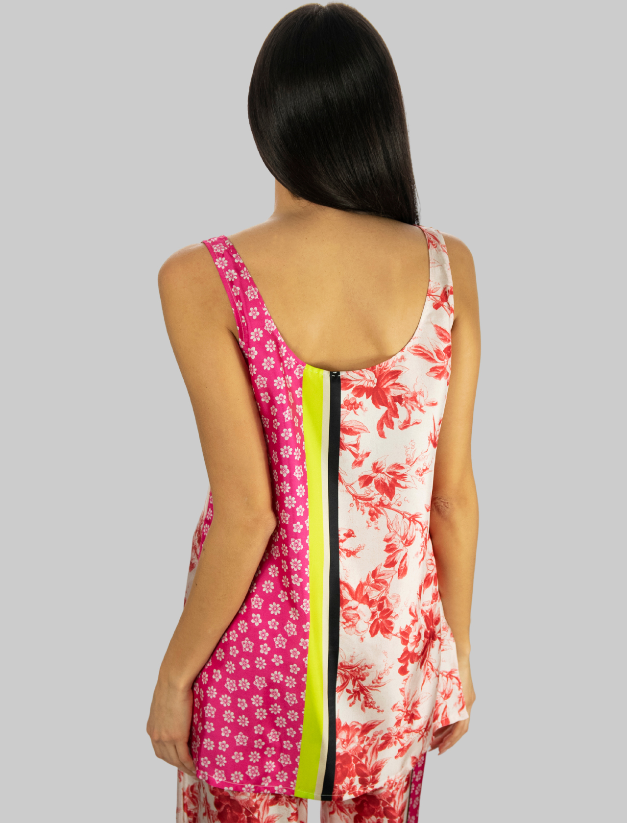 Women's Clothing Long Tank Top in Pink Patterned Silk Collection Print Maliparmi |  | JP540730091B3242
