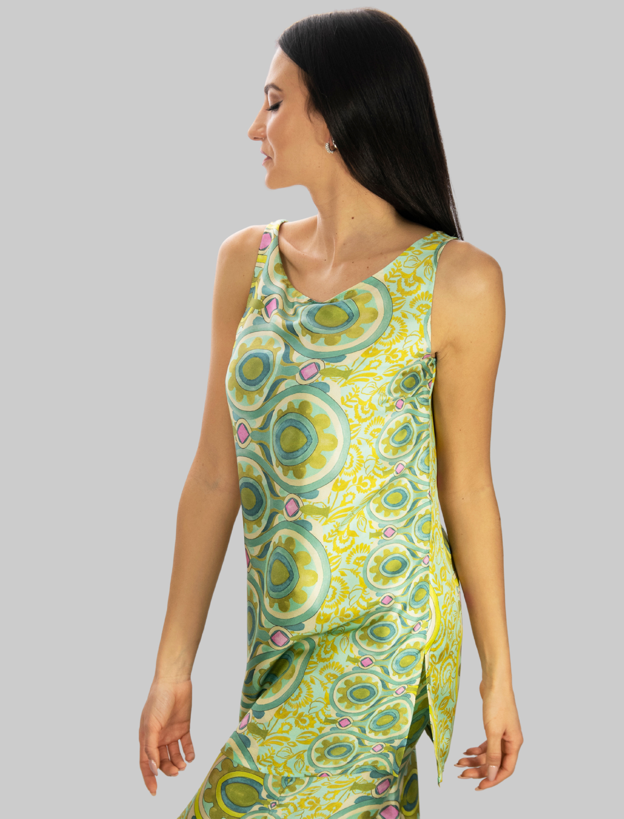 Abbigliamento Donna Canotta Lunga in Seta a fantasia Verde Collection Print Maliparmi | T-shirt e Canotte | JP540730091C6032