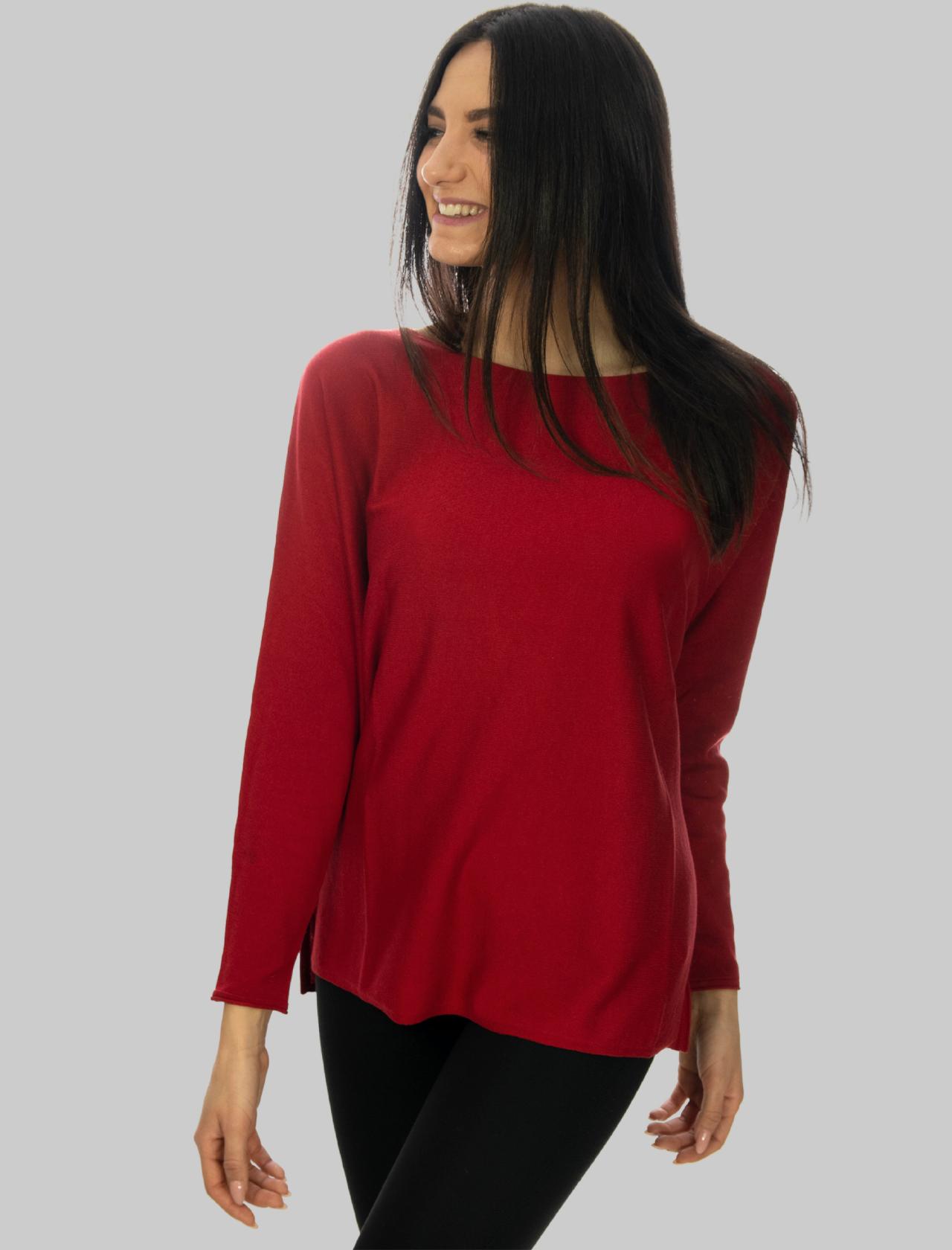 Abbigliamento Donna Maglia Smooth Spring in Cotone Rosso a Girocollo e Maniche Lunghe Maliparmi | Maglieria | JQ48667612830032