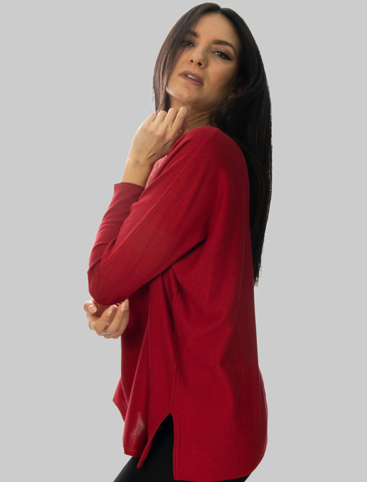 Women's Clothing Smooth Spring Sweater in Red Cotton with Round Neck and Long Sleeves Maliparmi | Knitwear | JQ48667612830032