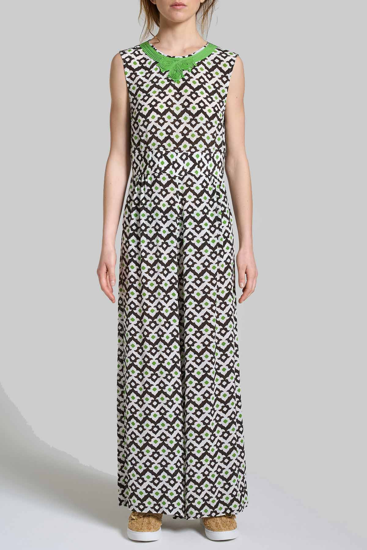 Women's Clothing Dress Long Jumpsuit Armhole Vis Ceres Diamond White and Black with Fantasy Maliparmi |  | JU001550552A1050