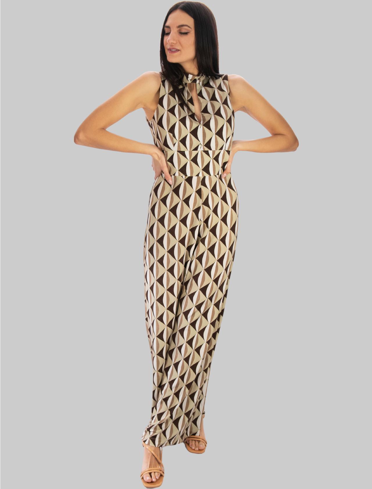Abbigliamento Donna Tuta Lunga e Ampia in Jersey Symmetria a Fantasia Beige Maliparmi | Abiti | JU001670496B1239