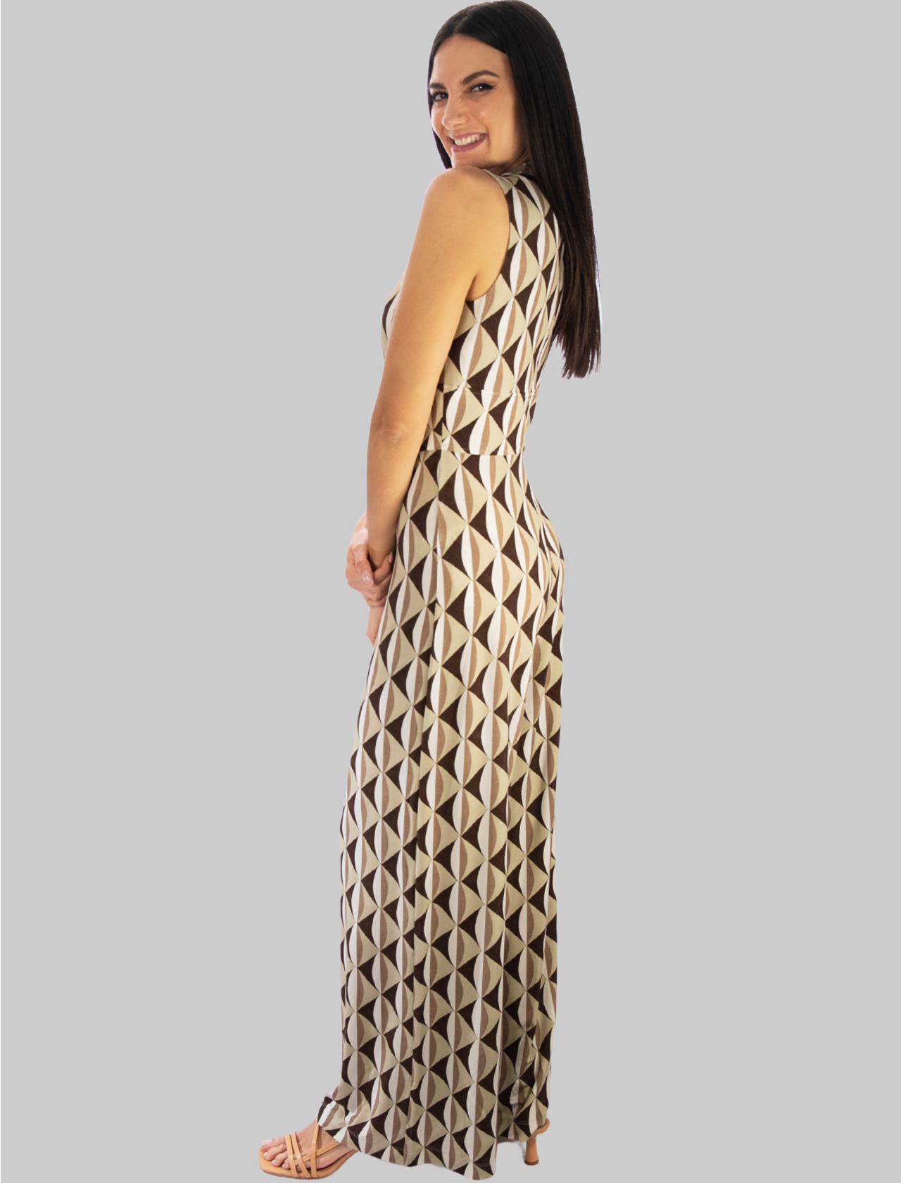 Women's Clothing Long Suit in Beige Fantasy Symmetria Jersey Maliparmi |  | JU001670496B1239