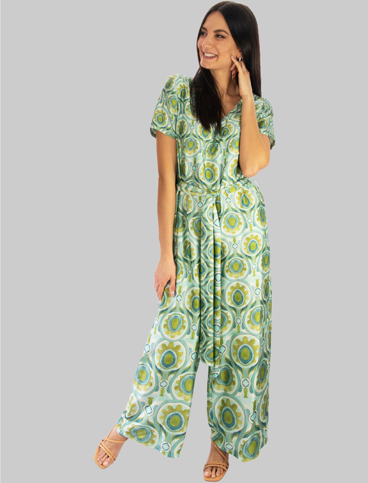 Women's Clothing Long Ottoman Twill Half Sleeve Jumpsuit in Turquoise Maliparmi | Dresses | JU001760046A8207