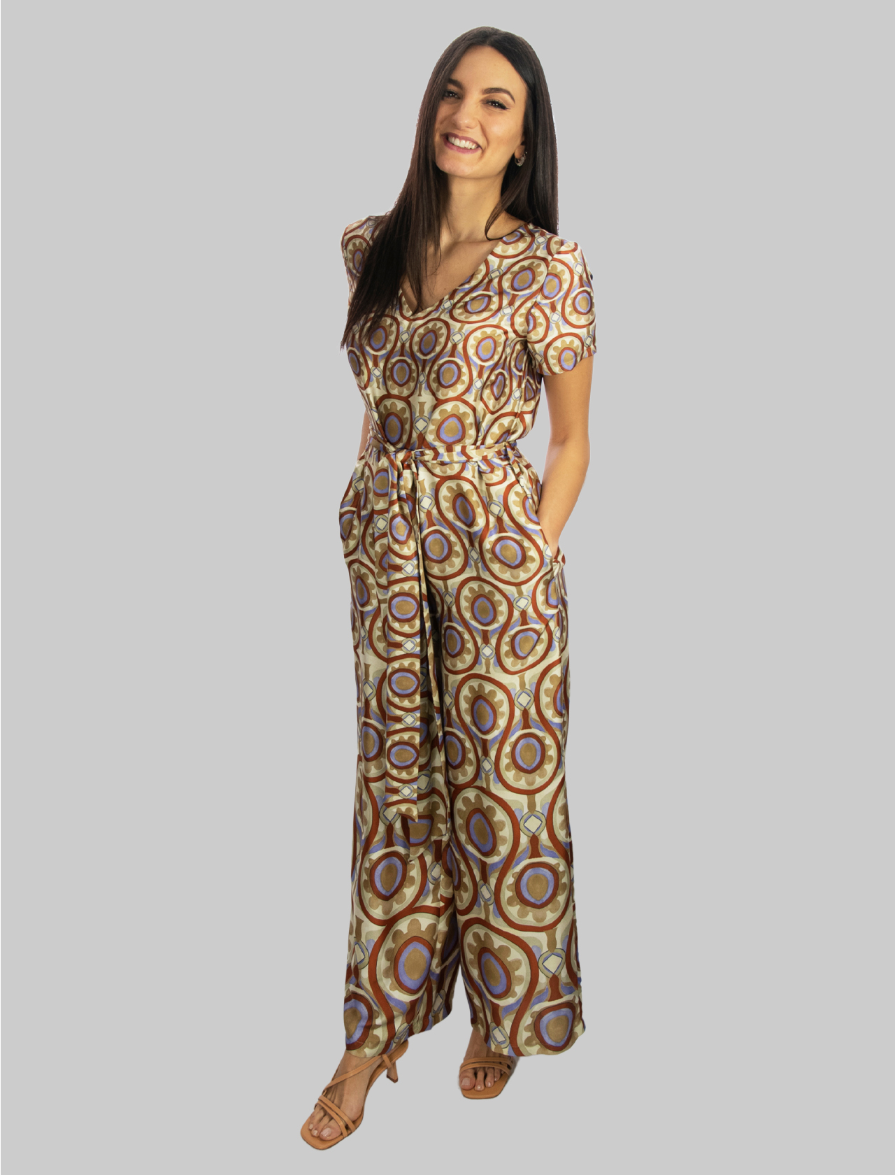 Abbigliamento Donna Tuta Lunga Ottoman Twill Mezza Manica in Beige Maliparmi | Abiti | JU001760046B1229