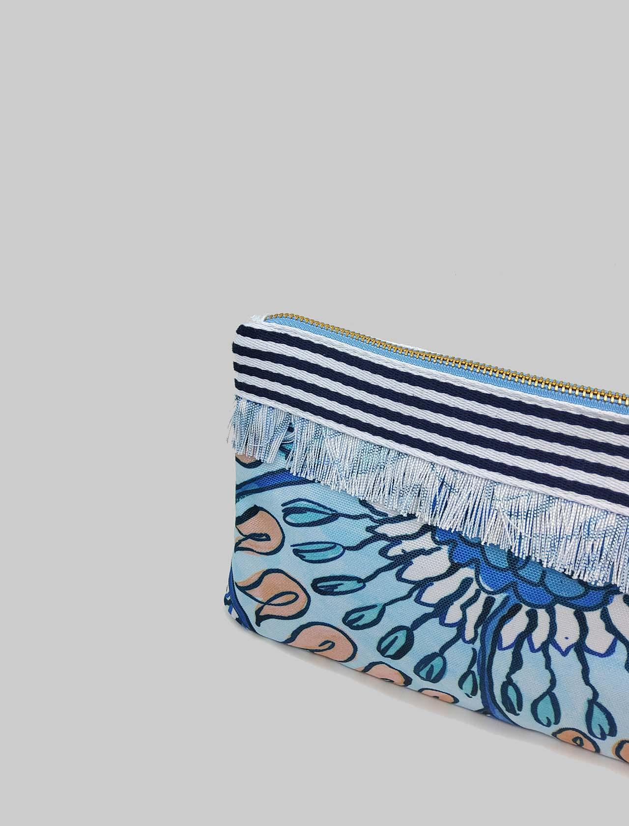 Accessori Donna Borsa Pouch Summer Breakfast in Cotone Azzurro e Blu Maliparmi | Borse e zaini | OP008610134A1846