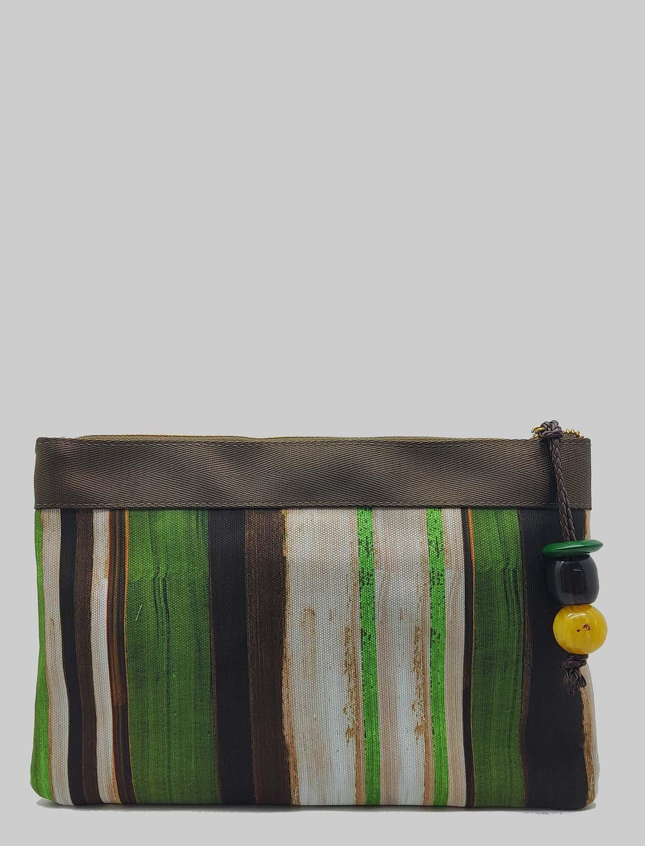 Accessori Donna Borsa Pouch Painted Stripes in Cotone Verde e Naturale Maliparmi | Borse e zaini | OP008610135C6022