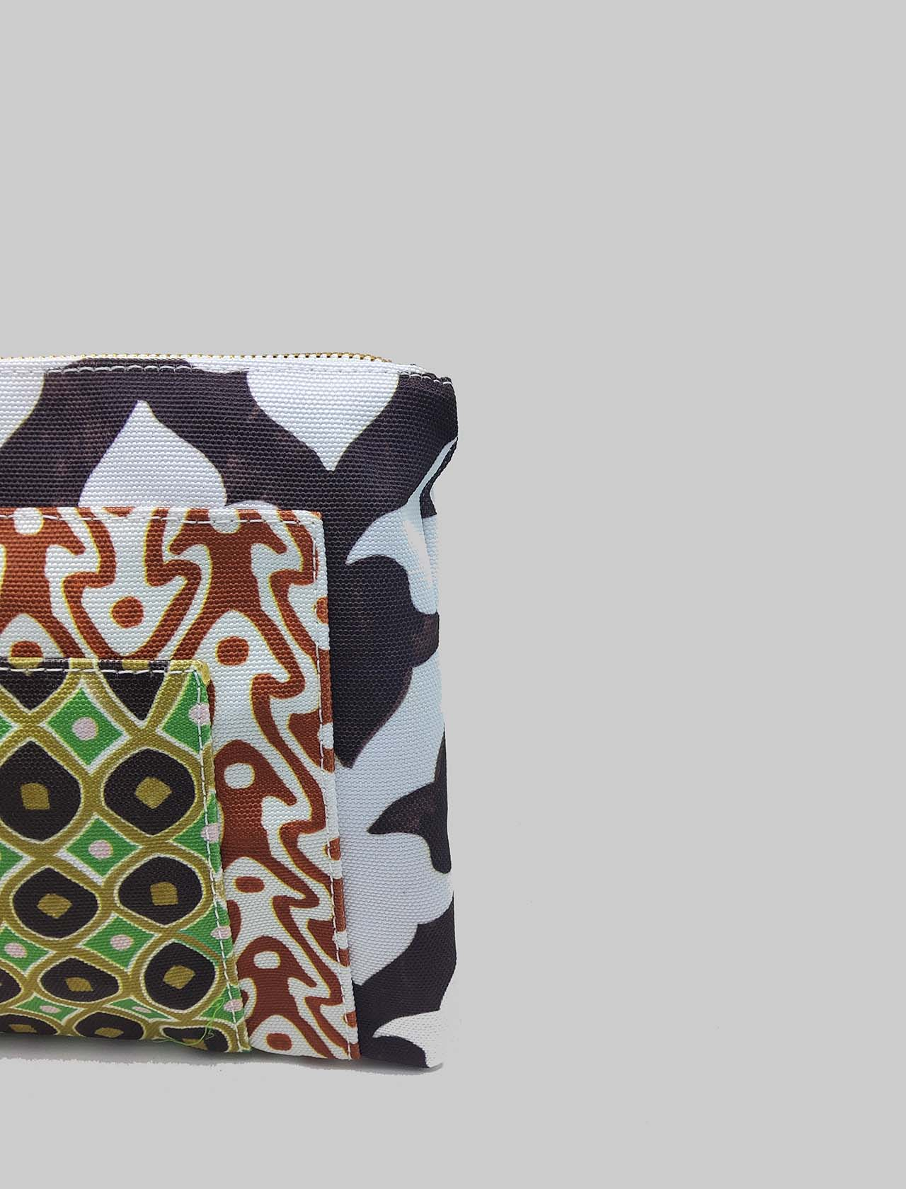 Women's Accessories Pouch Ceres Diamond Print Bag in White and Brown Cotton Maliparmi   Bags and backpacks   OP008660044A1053
