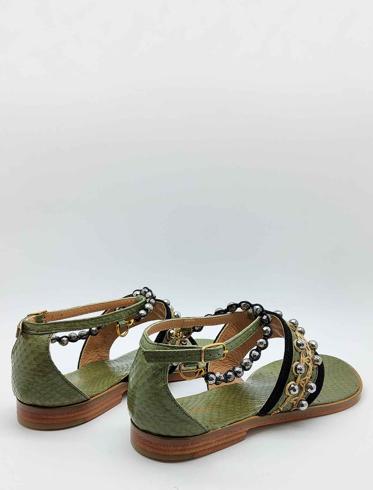 Women's Shoes Sandals Flip Flops Exotic Whipstitch in Leather and Green Leather with Studs Strap and Anklet Maliparmi | Flat sandals | SX047601456B4067