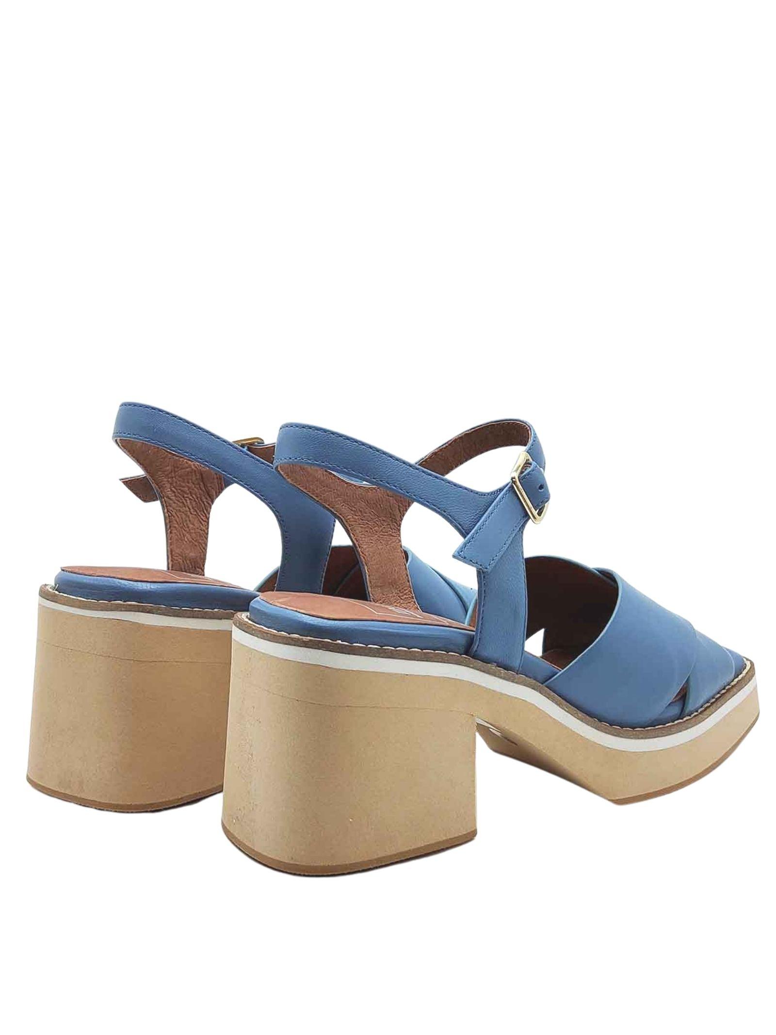 Calzature Donna Sandali in Pelle Blu con Incrocio e Cinturino alla Caviglia su Zeppa Alta Manufacture D'Essai | Sandali Zeppa | 46026