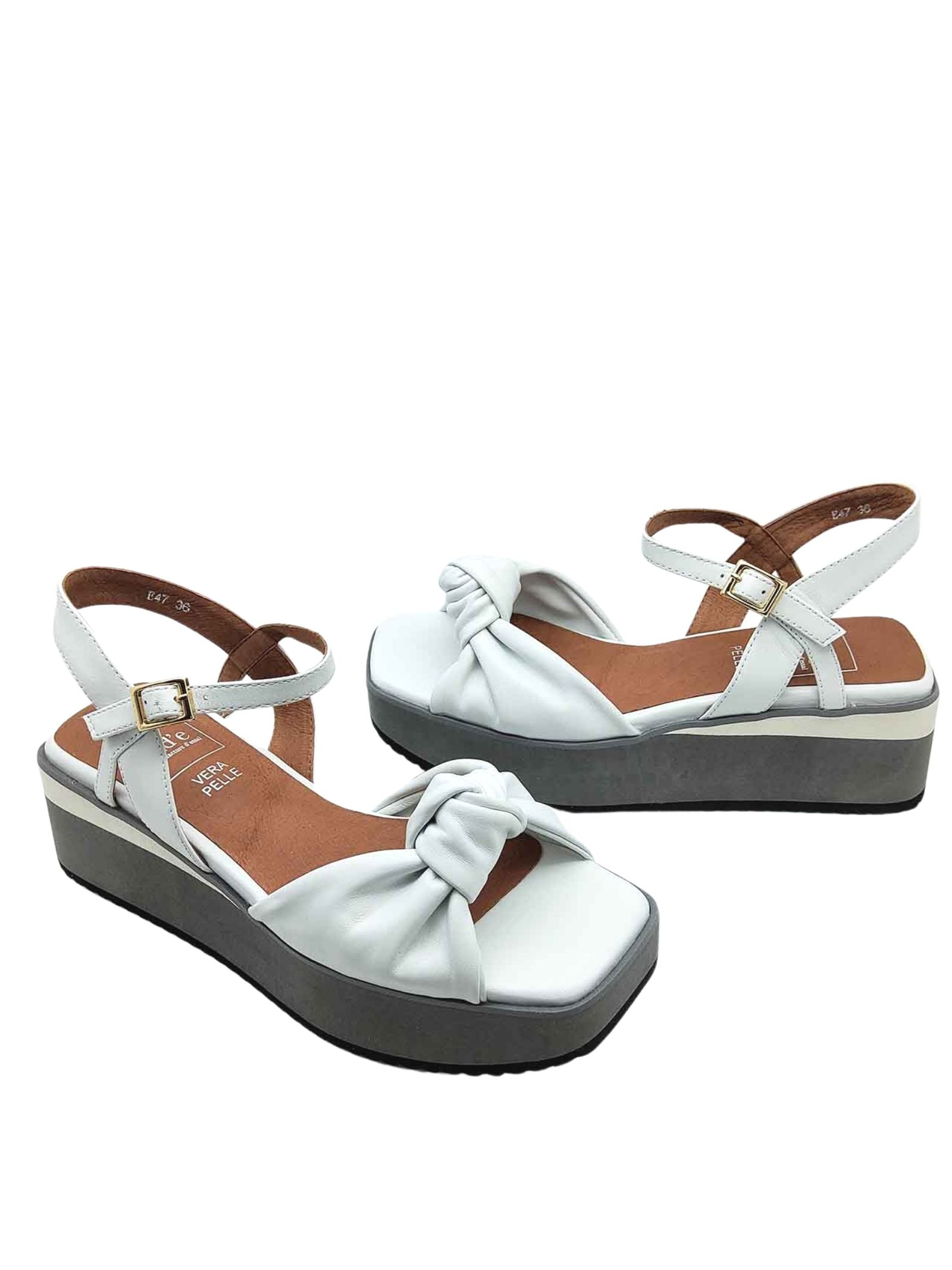 Women's Shoes White Leather Sandals with Knot and Ankle Strap on Bicolor Wedge Manufacture D'Essai   Wedge Sandals   47100
