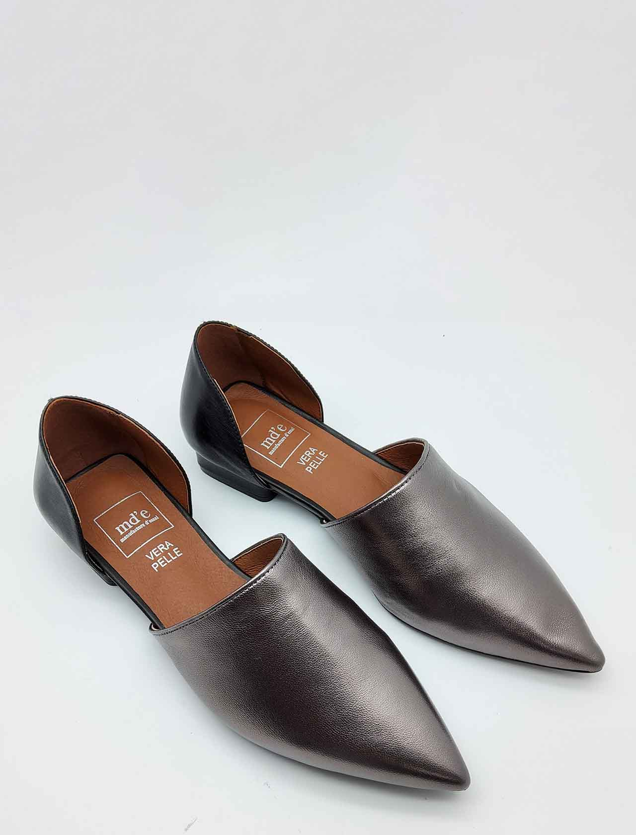 Women's Shoes Low Décolleté in Gunmetal and Black Leather with Pointed Toe Manufacture D'Essai | Pumps | E08605