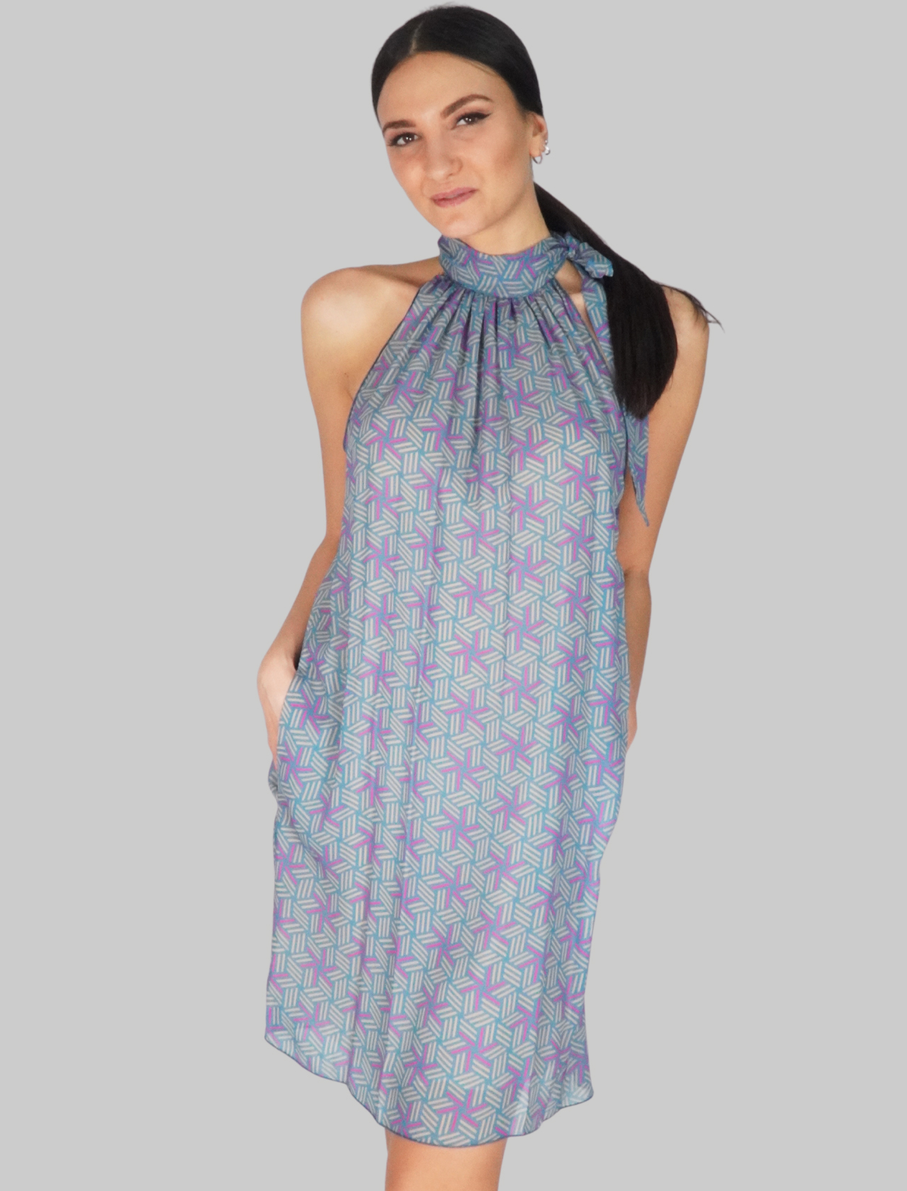 Women's Clothing Blue Fantasy Midi Dress with Bow Mercì |  | A575002