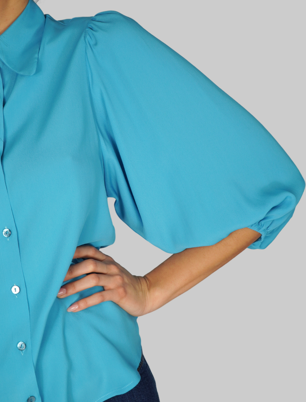 Women's Clothing Turquoise Shirt Puff Sleeves Mercì | Shirts and tops | C305028