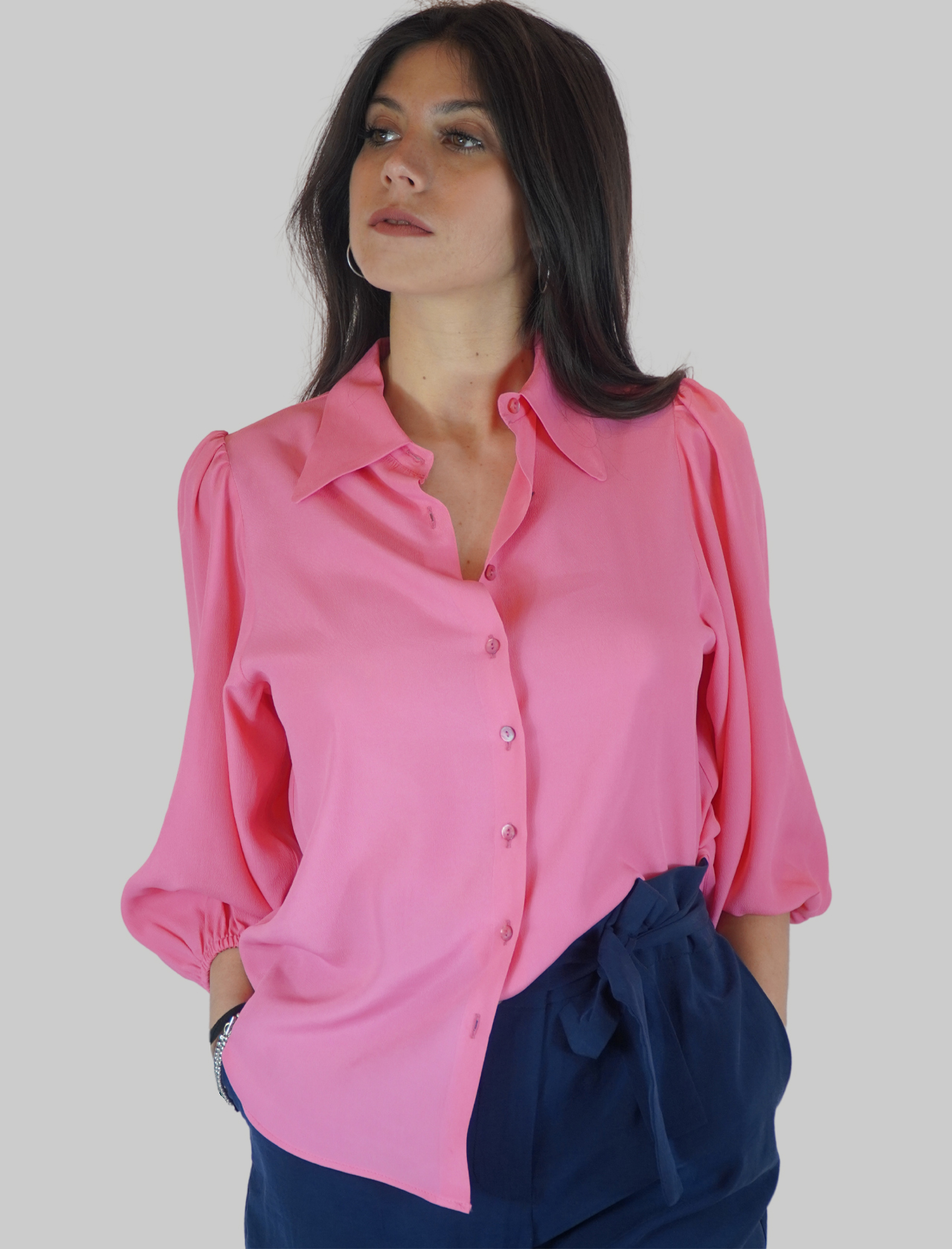Women's Clothing Pink Silk Blend Shirt with Puff Sleeves Mercì | Shirts and tops | C305033
